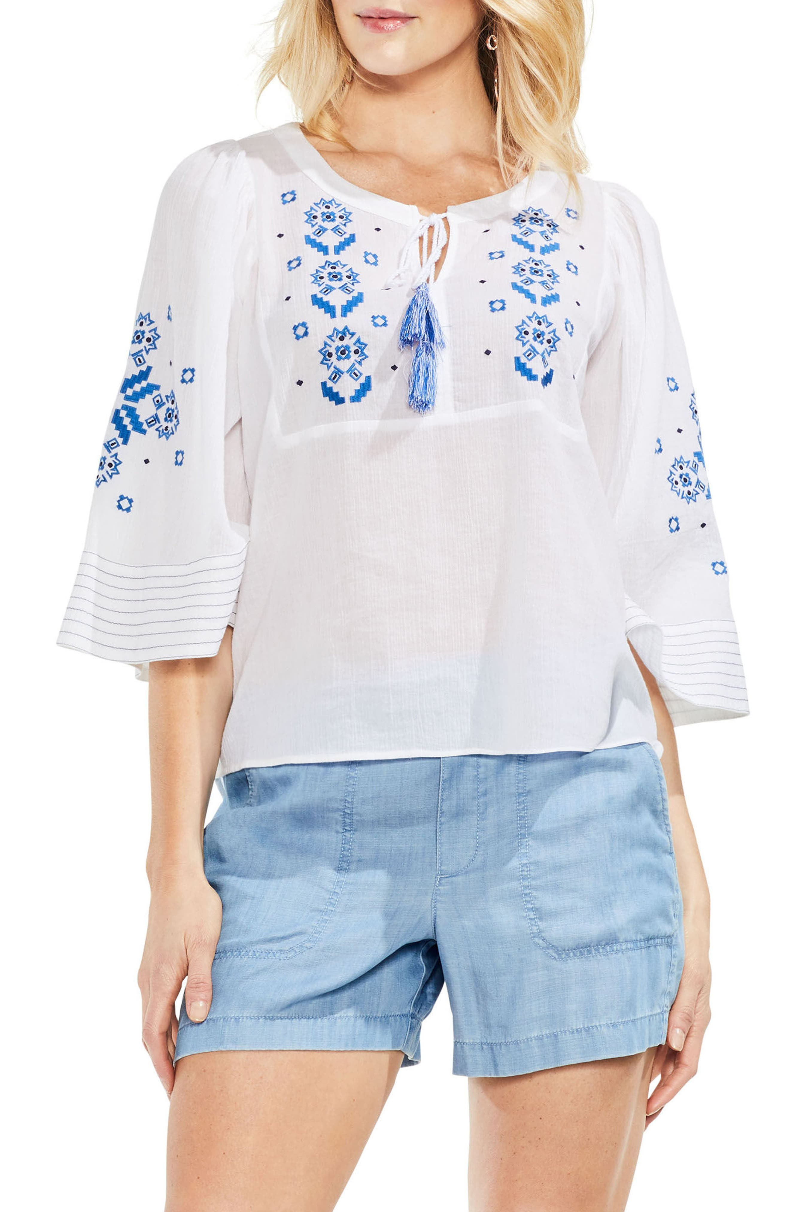 Bell Sleeve Embroidered Cotton Gauze Top,                         Main,                         color, 145
