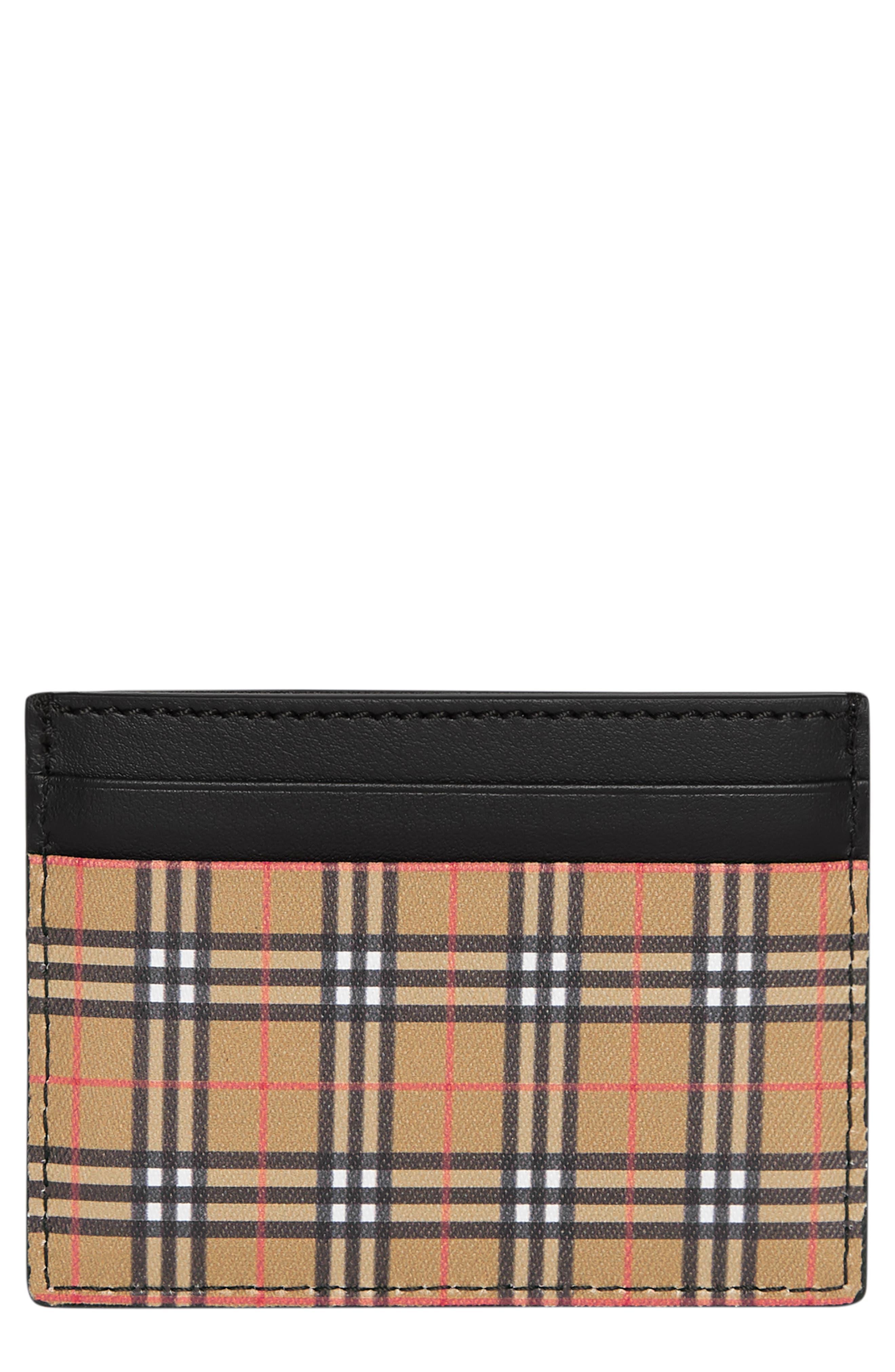 BURBERRY Sandom Check Card Case, Main, color, ANTIQUE YELLOW/ BLACK