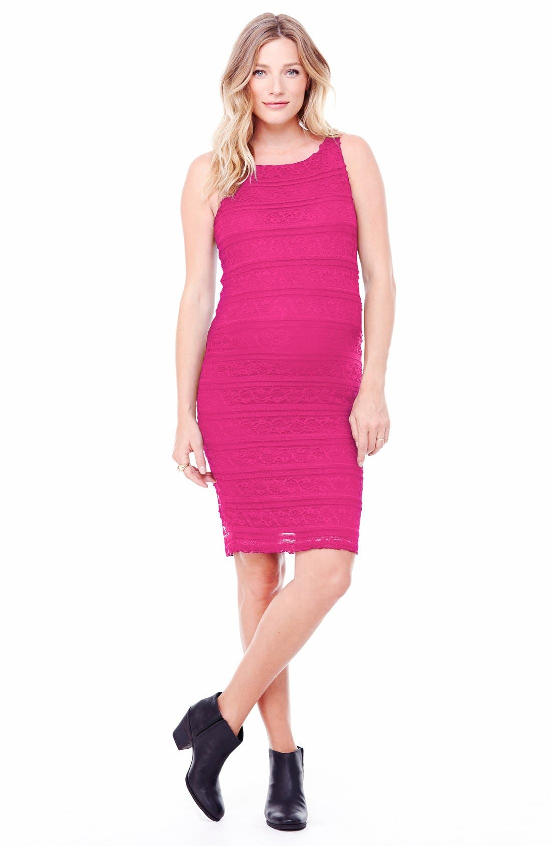Ingrid & Isabel Sleeveless Stretch Lace Maternity Dress,                             Main thumbnail 3, color,