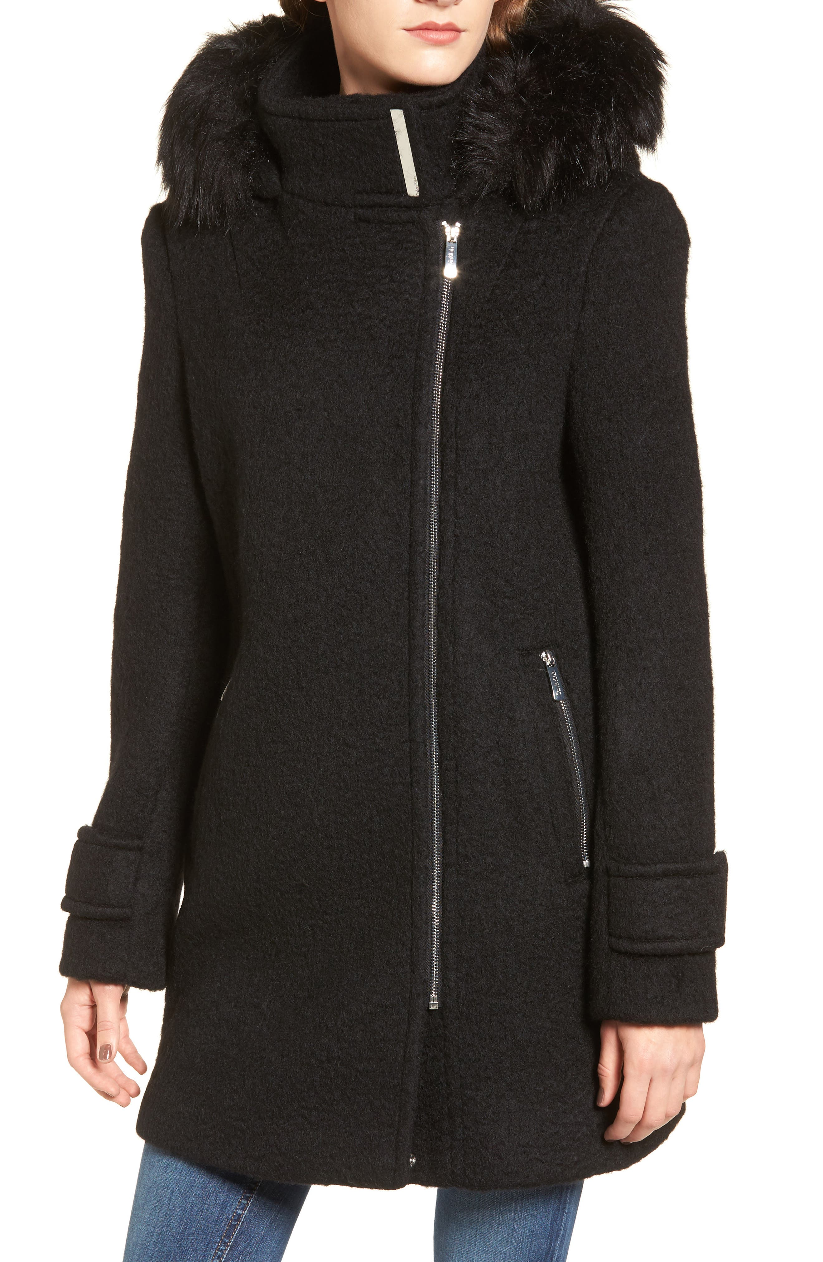 Hooded Wool Blend Jacket with Faux Fur Trim,                             Alternate thumbnail 10, color,