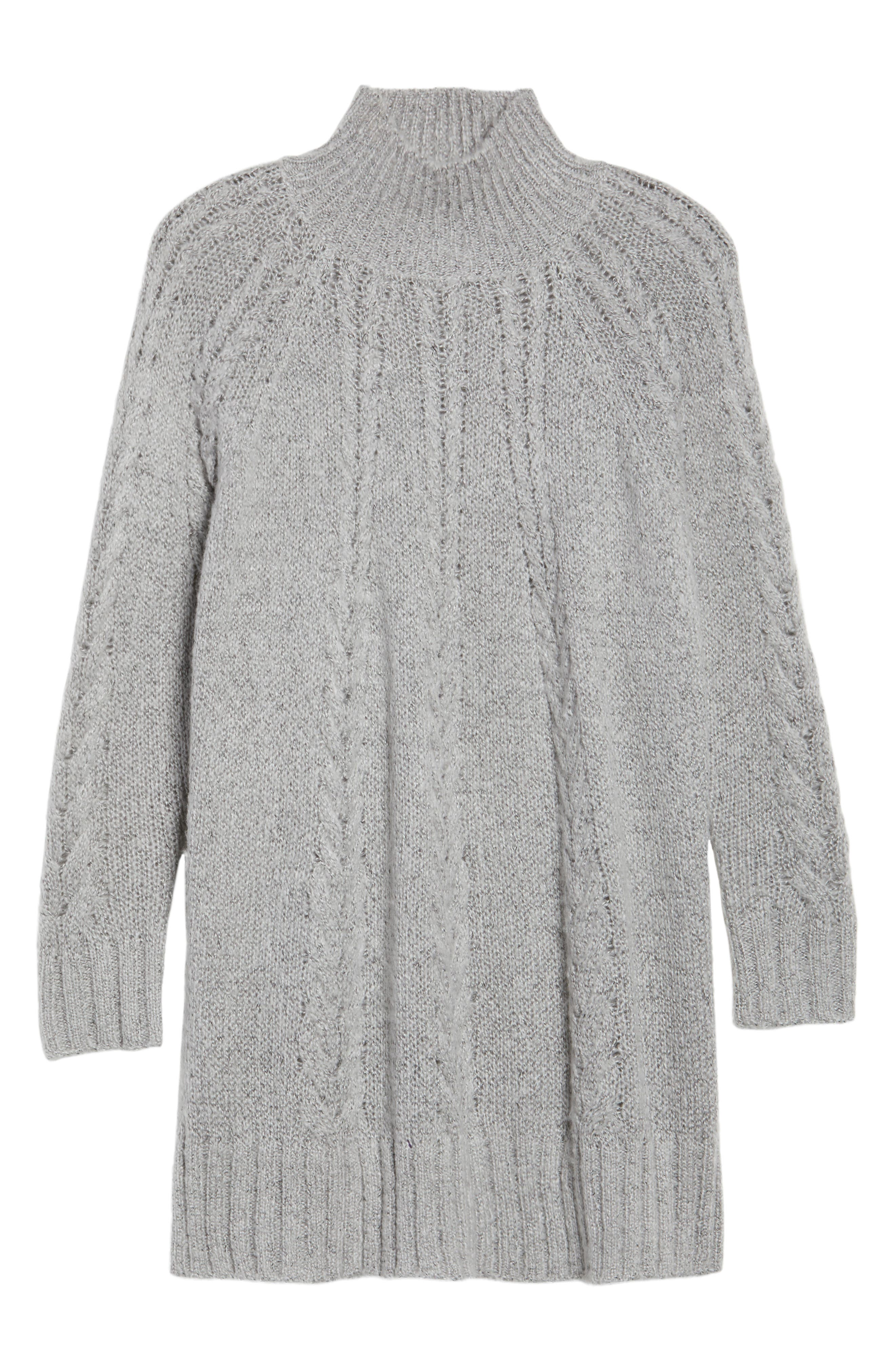 Cable Knit Tunic Sweater,                             Alternate thumbnail 6, color,                             030