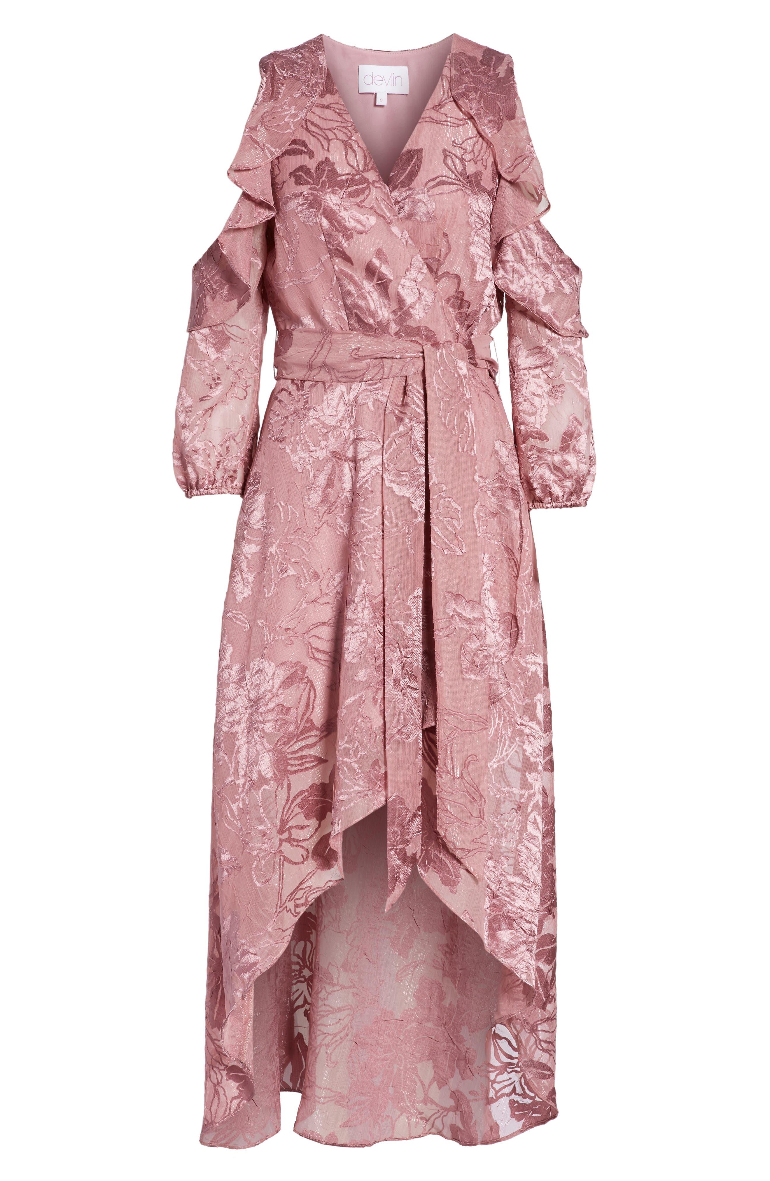 Libra Cold Shoulder Wrap Dress,                             Alternate thumbnail 6, color,