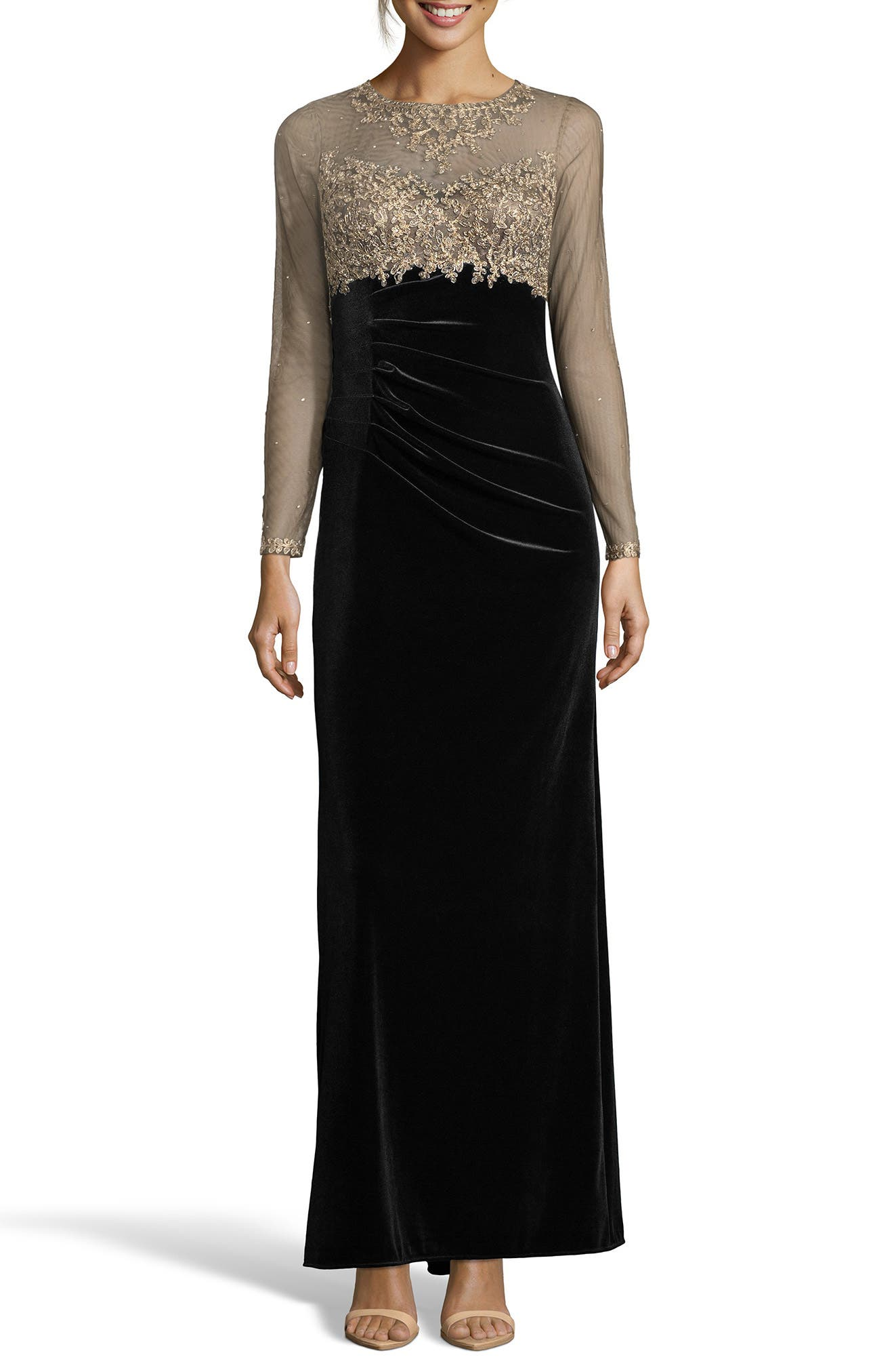 Illusion Bodice Velvet Gown,                             Main thumbnail 1, color,                             BLACK/ GOLD