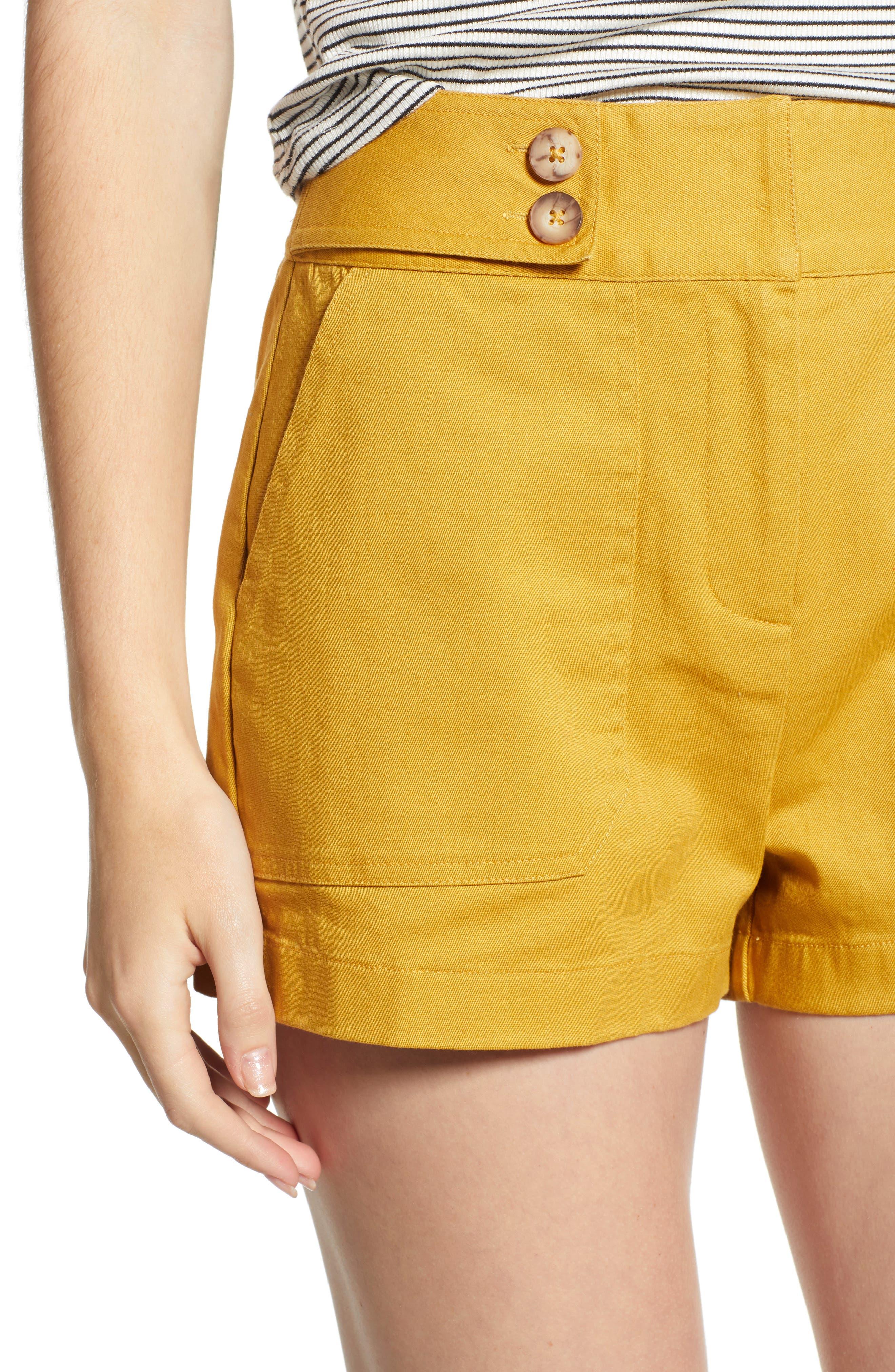 High Waist Sailor Shorts,                             Alternate thumbnail 4, color,                             MUSTARD