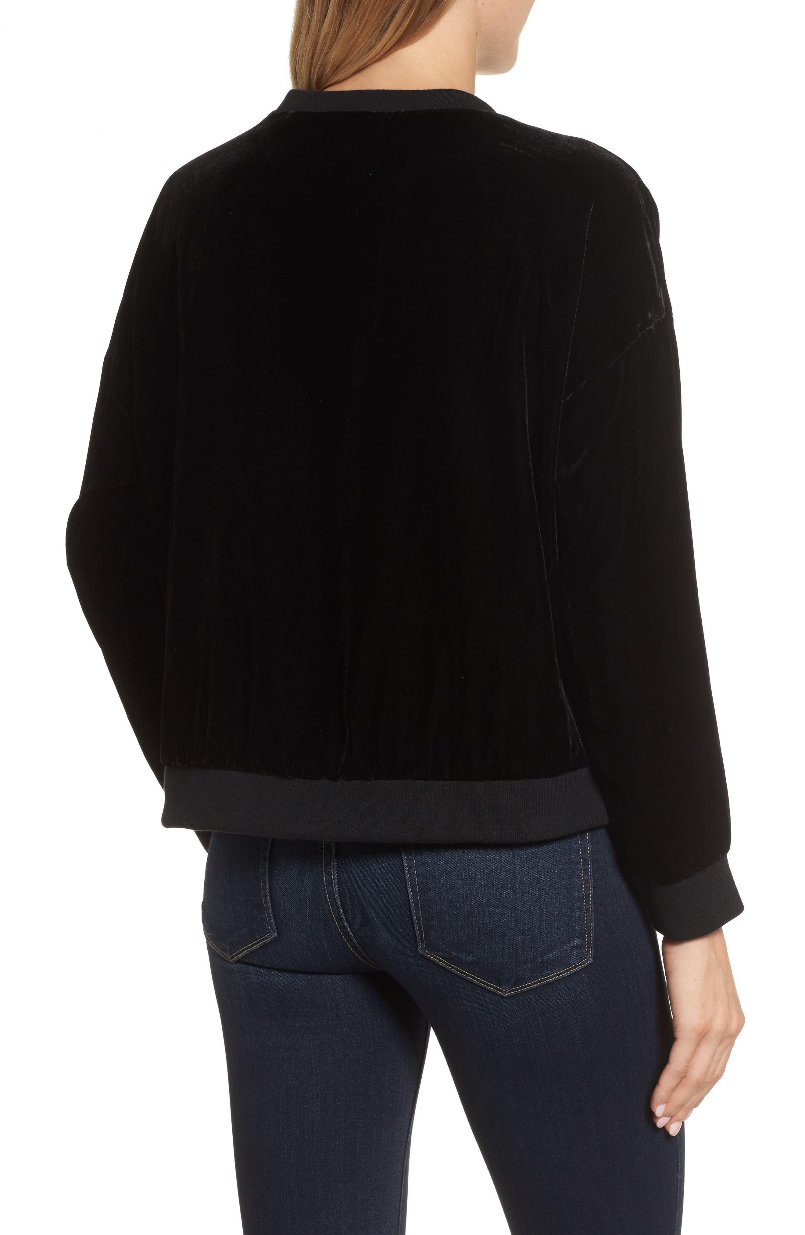Zipper Velvet Sweatshirt,                             Alternate thumbnail 2, color,                             BLACK