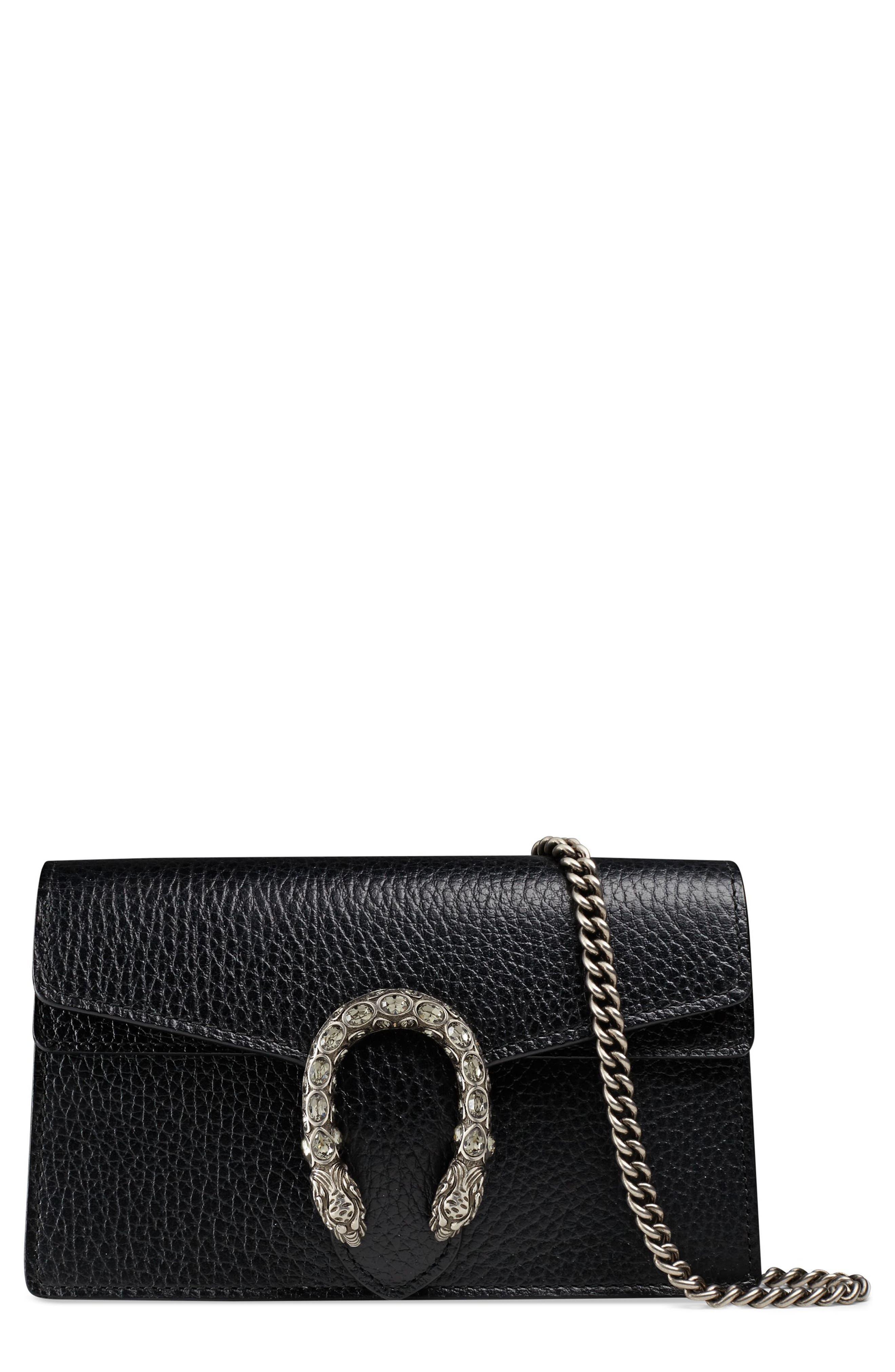 GUCCI,                             Super Mini Dionysus Leather Shoulder Bag,                             Main thumbnail 1, color,                             001
