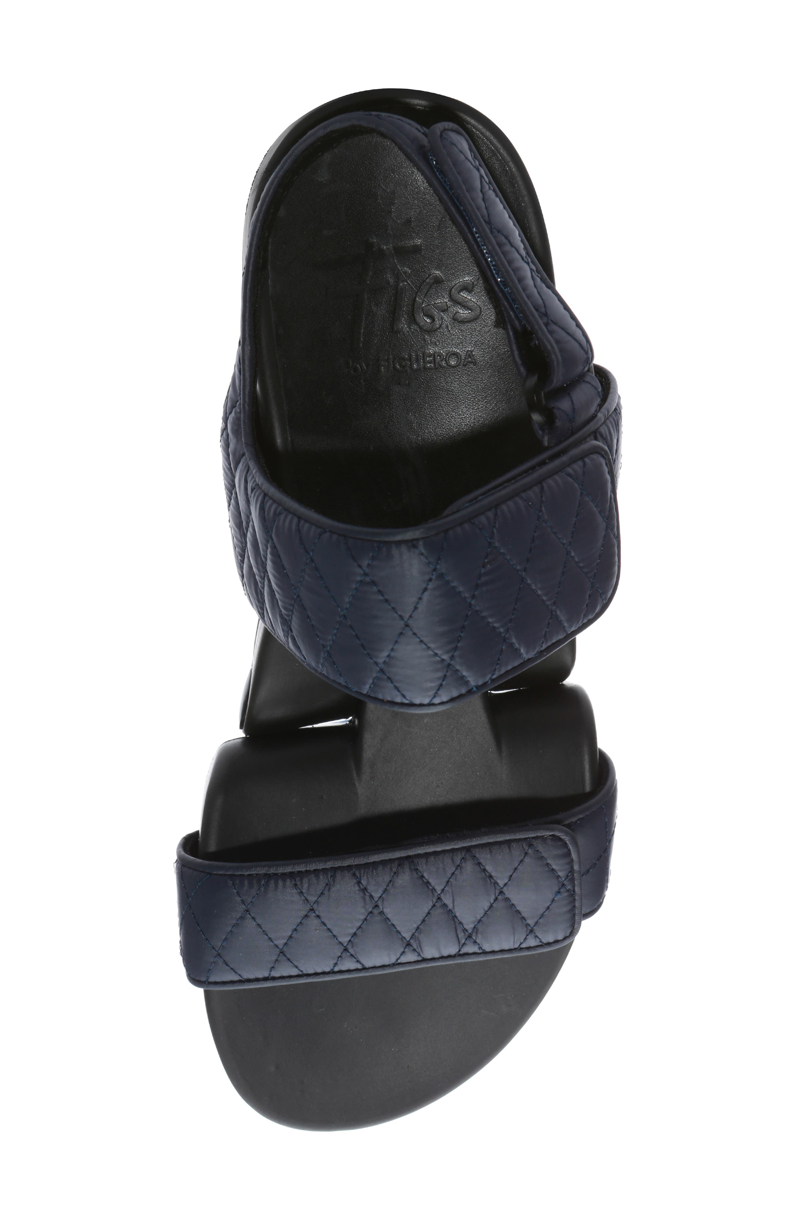 Figulous Quilted Sandal,                             Alternate thumbnail 5, color,                             NAVY FABRIC