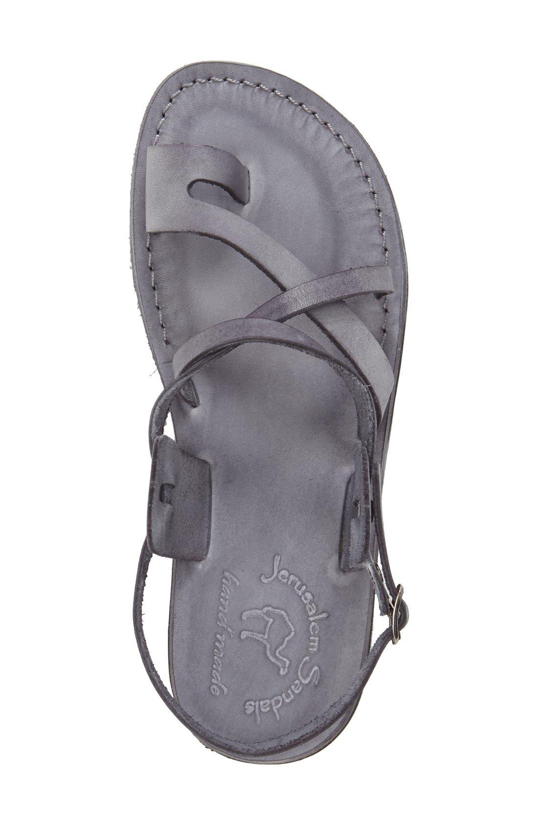 'The Good Shepherd' Leather Sandal,                             Alternate thumbnail 3, color,                             GREY LEATHER