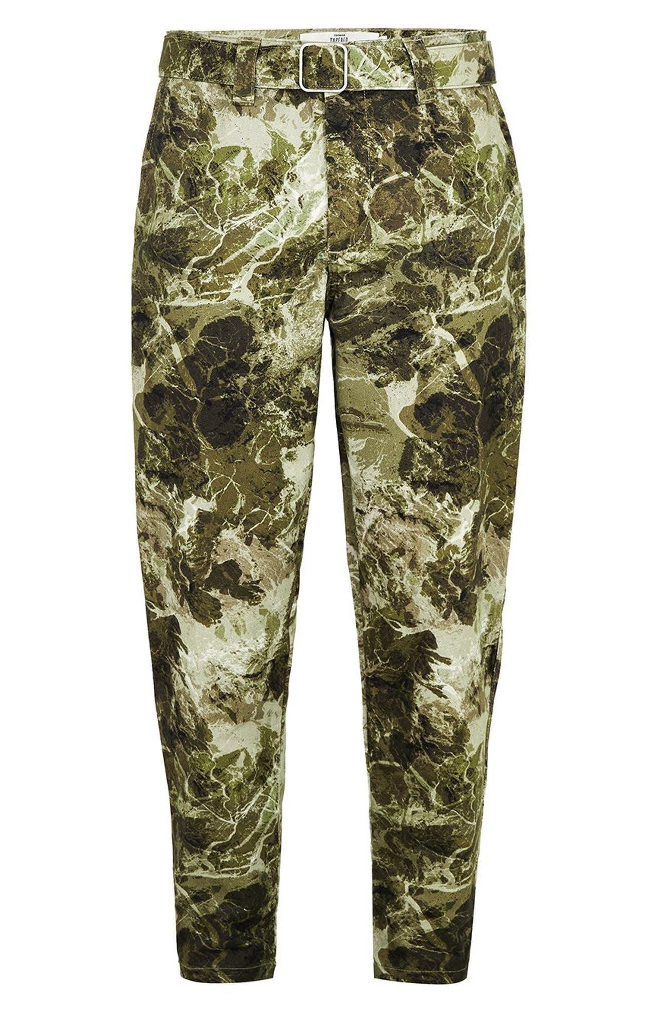 Sand Camouflage Tapered Trousers,                             Alternate thumbnail 4, color,                             GREEN MULTI