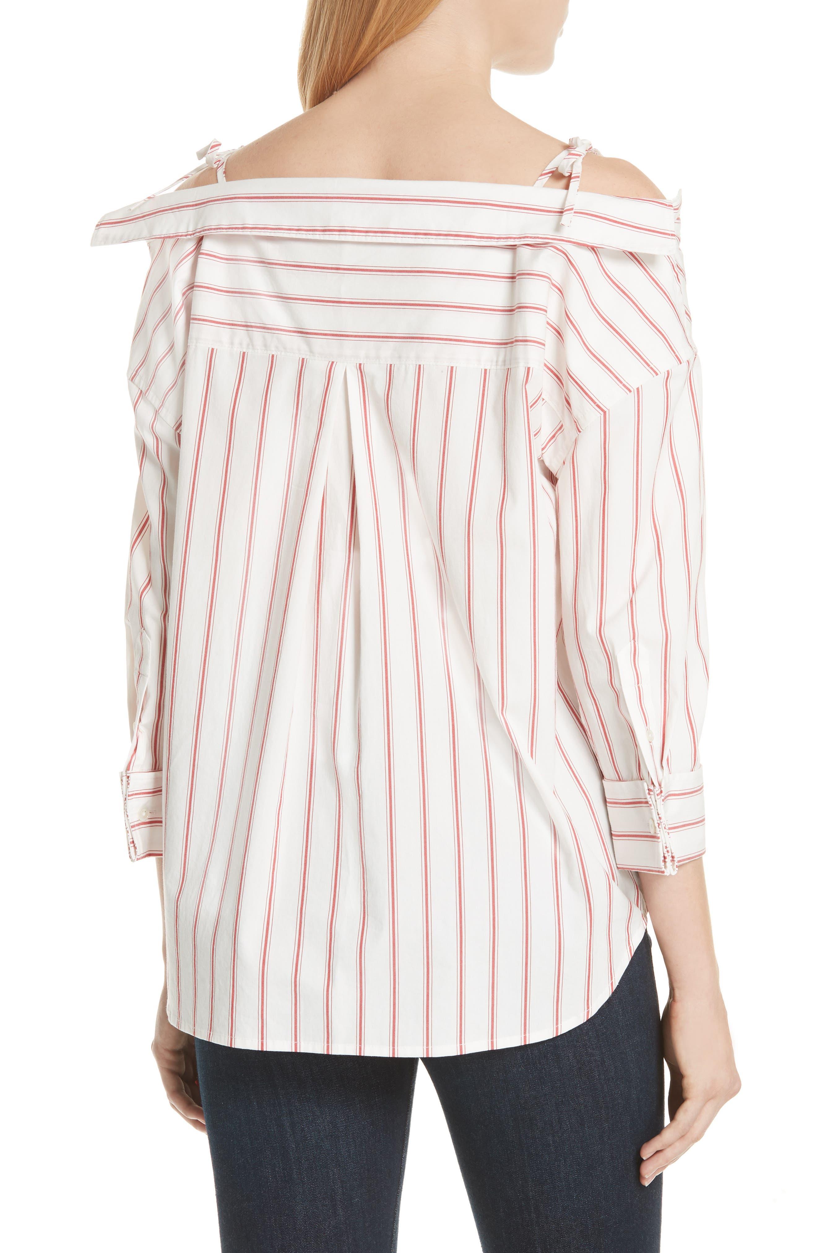 Alvina Tie Front Stripe Shirt,                             Alternate thumbnail 2, color,                             600