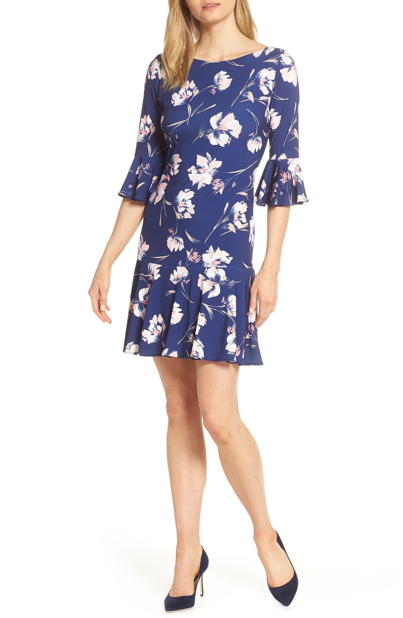 Petite Eliza J Floral Bell Sleeve Shift Dress, Blue
