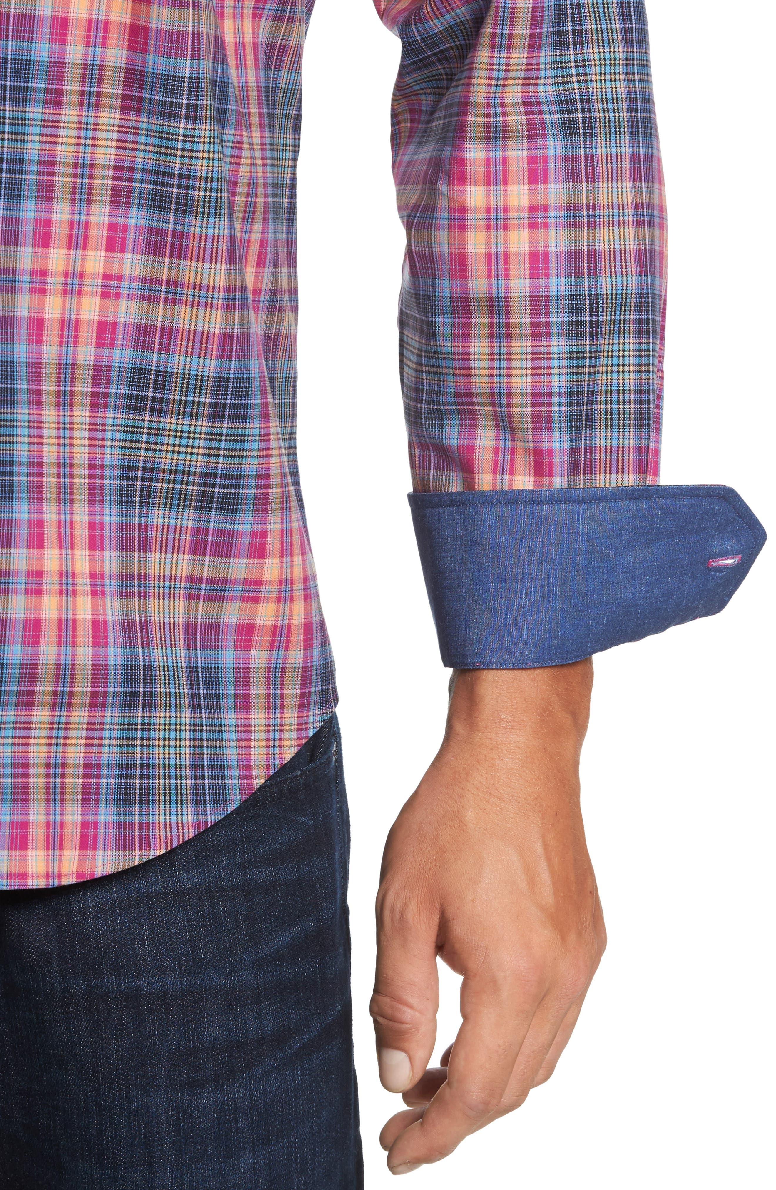 Classic Fit Plaid Sport Shirt,                             Alternate thumbnail 4, color,                             537