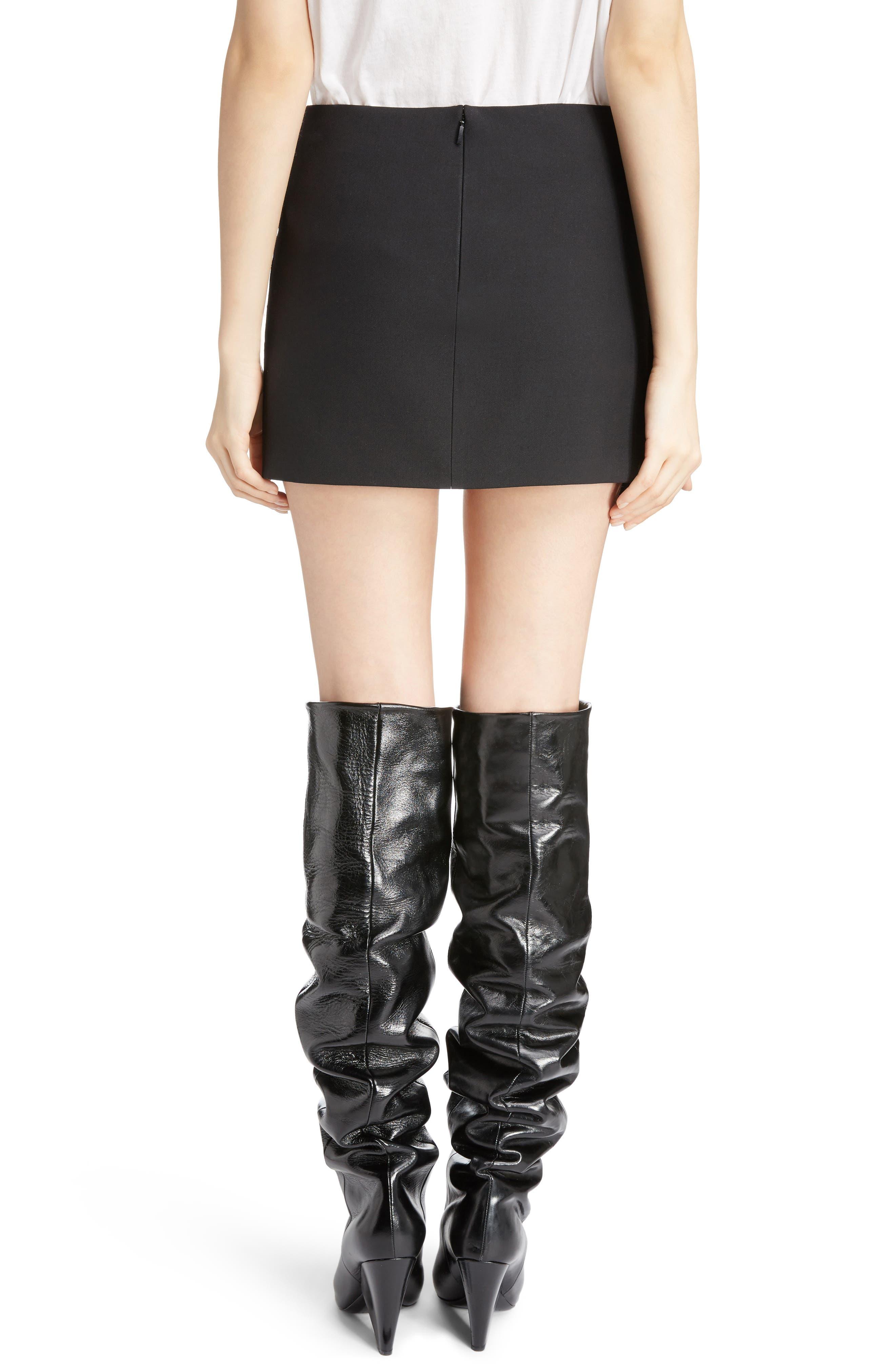 Pleated Wool Gabardine Miniskirt,                             Alternate thumbnail 2, color,                             001