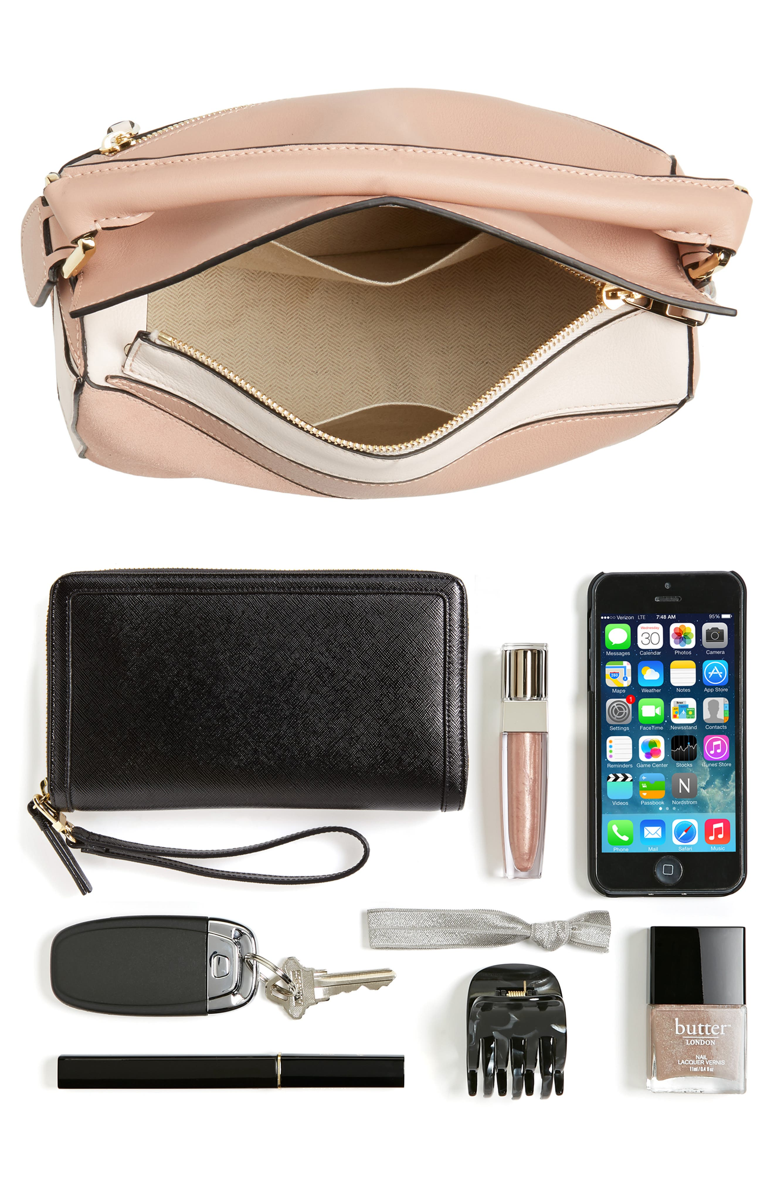 Small Puzzle Bicolor Leather Bag,                             Alternate thumbnail 8, color,                             BLUSH MULTITONE