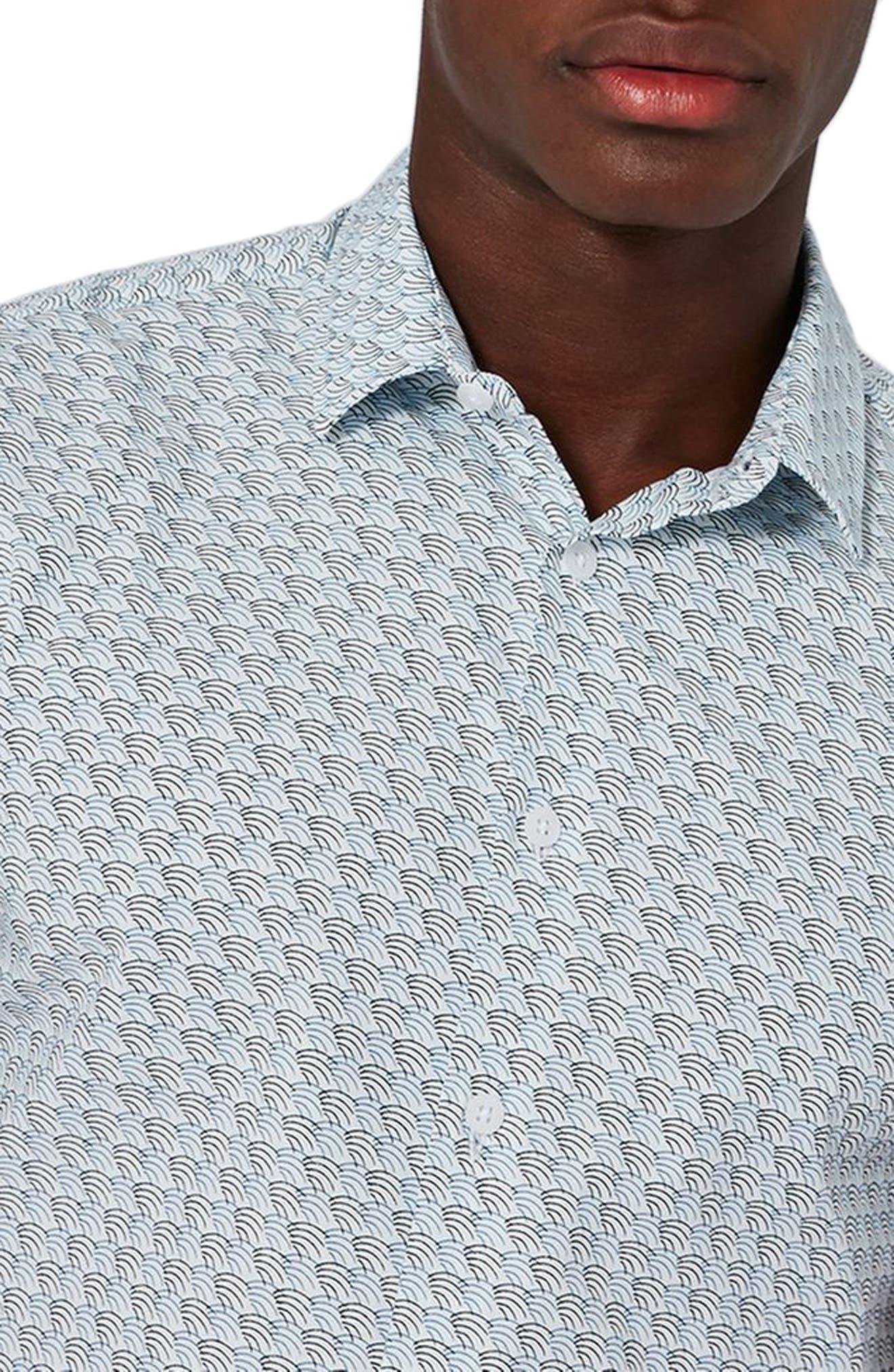 Waves Print Shirt,                             Alternate thumbnail 3, color,                             450