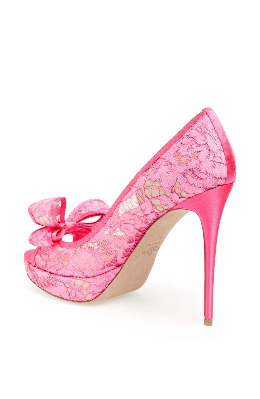 'Lace Couture Bow' Open Toe Pump,                             Alternate thumbnail 3, color,                             651
