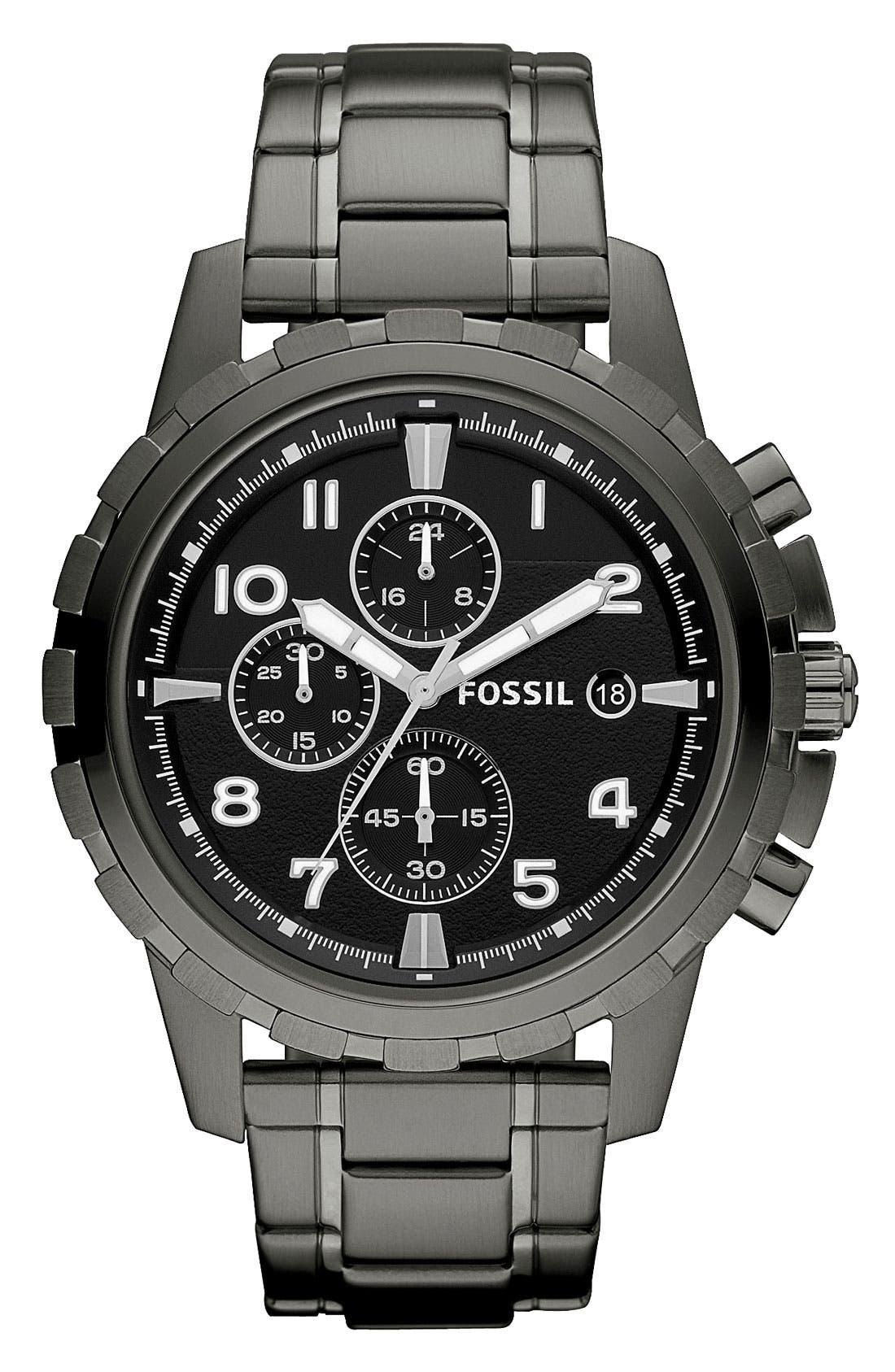 Notched Bezel Chronograph Bracelet Watch, 45mm,                         Main,                         color,