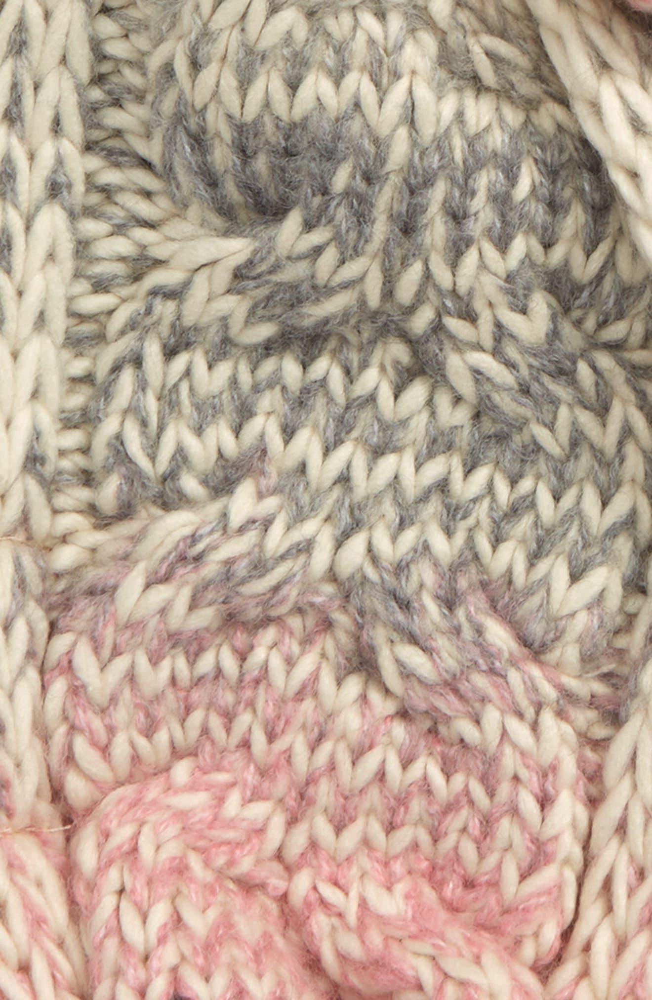 Marled Stripe Pom Scarf,                             Alternate thumbnail 2, color,                             IVORY EGRET- PINK MULTI