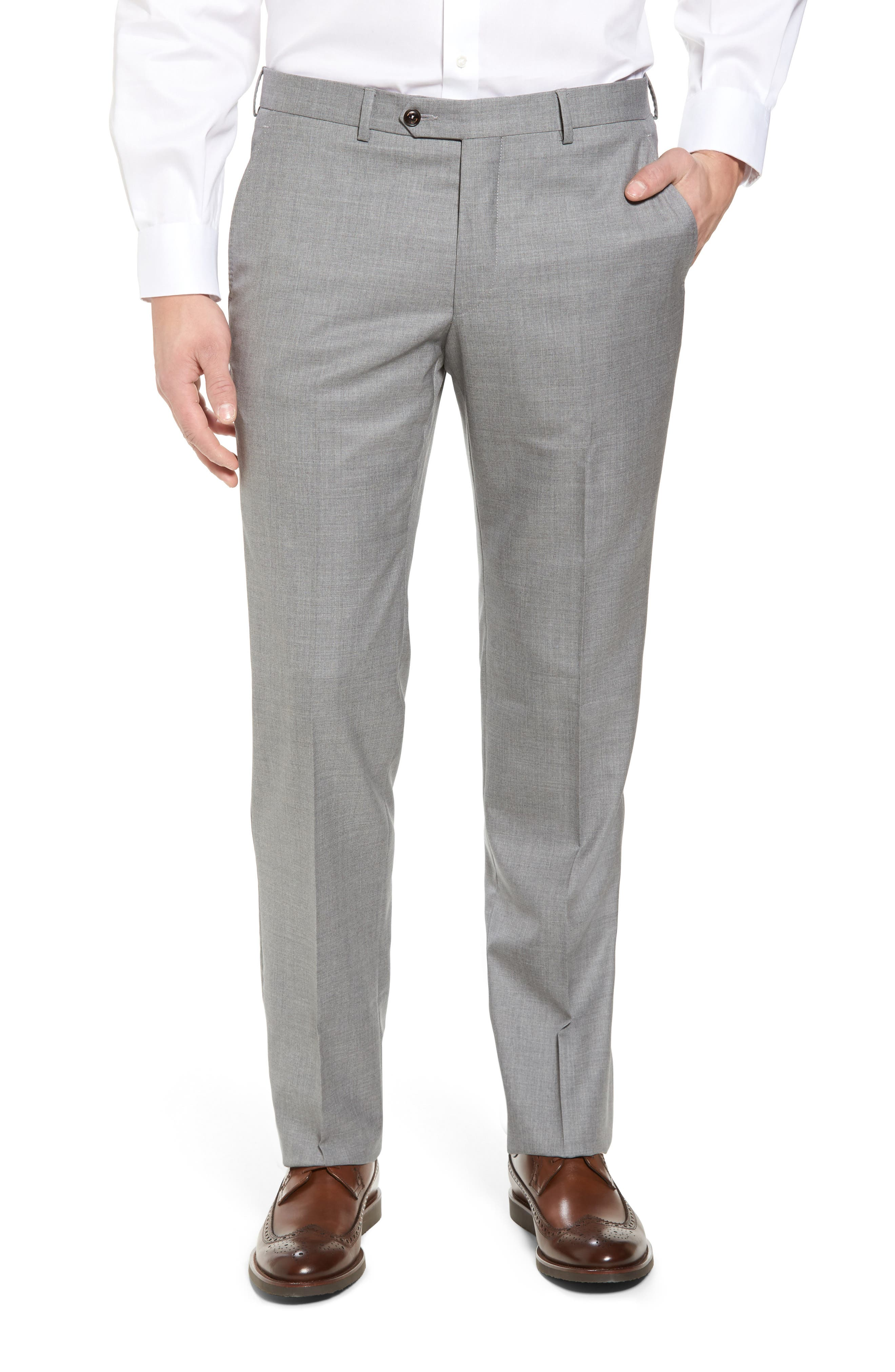 Peter Millar Multi Season Super 150s Wool Flat Front Trousers,                             Main thumbnail 1, color,                             047