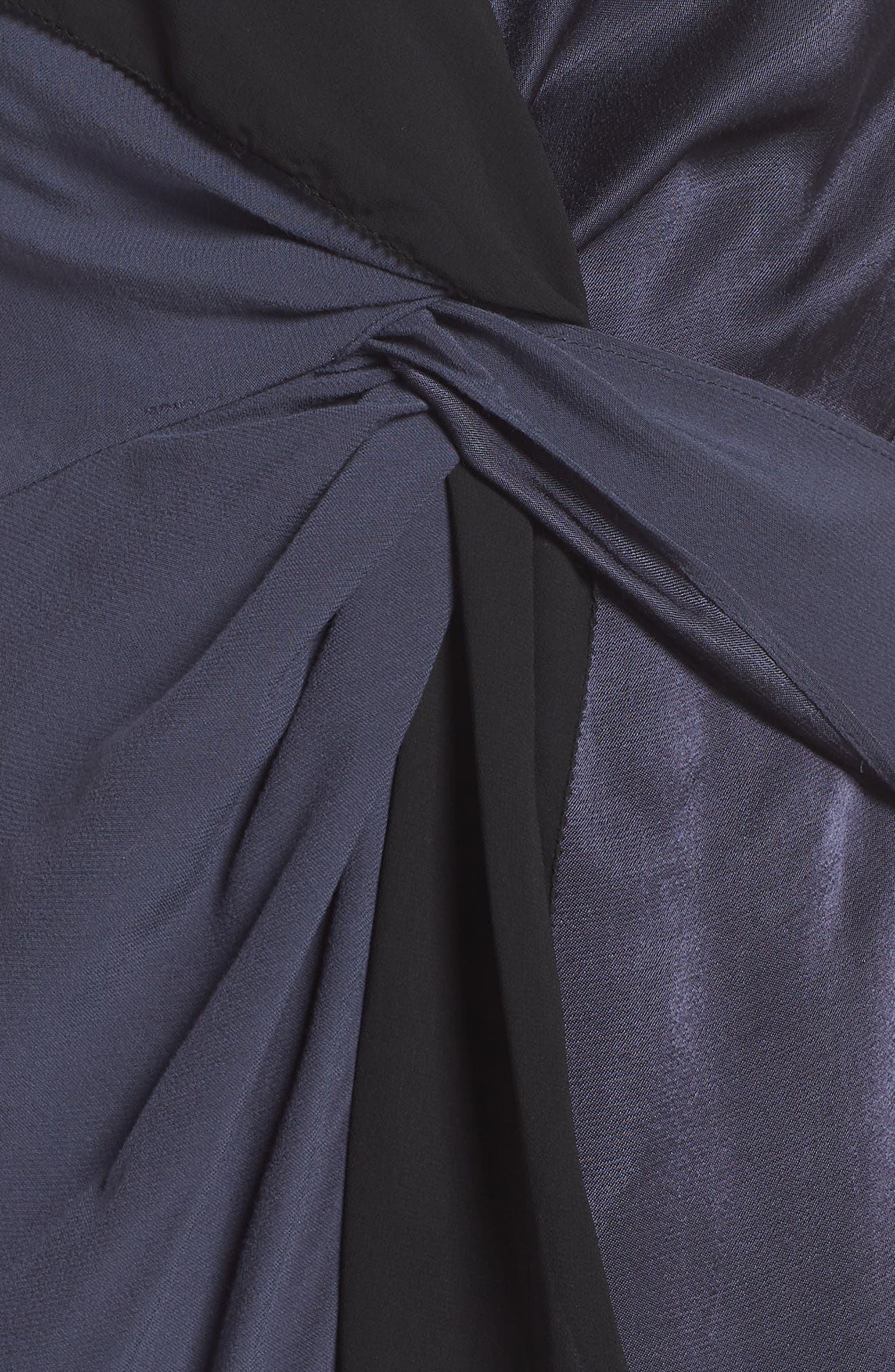 Twist Front Cocktail Dress,                             Alternate thumbnail 6, color,                             BLACK/ NAVY
