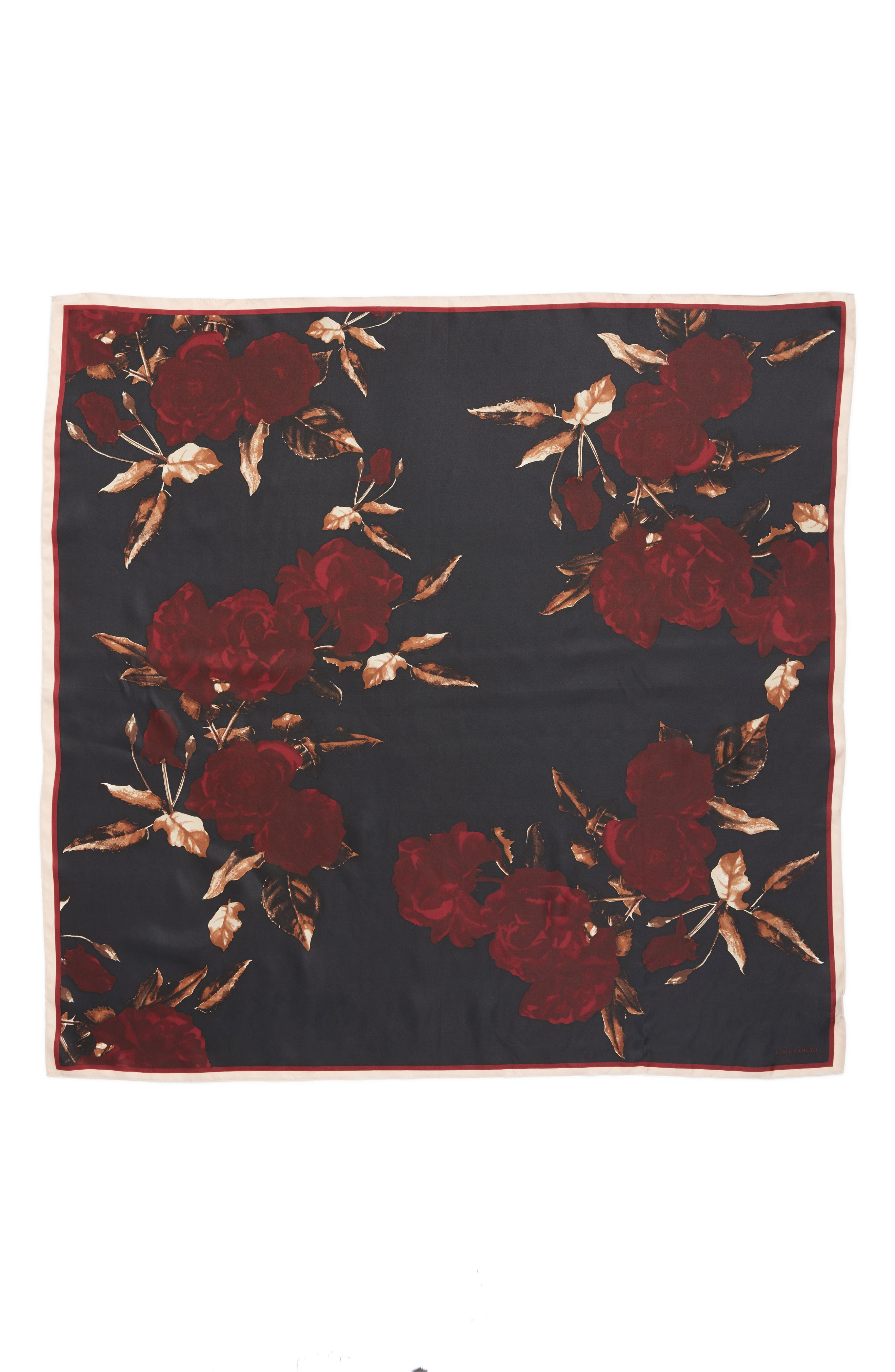 Sepia Rose Square Silk Scarf,                             Alternate thumbnail 6, color,