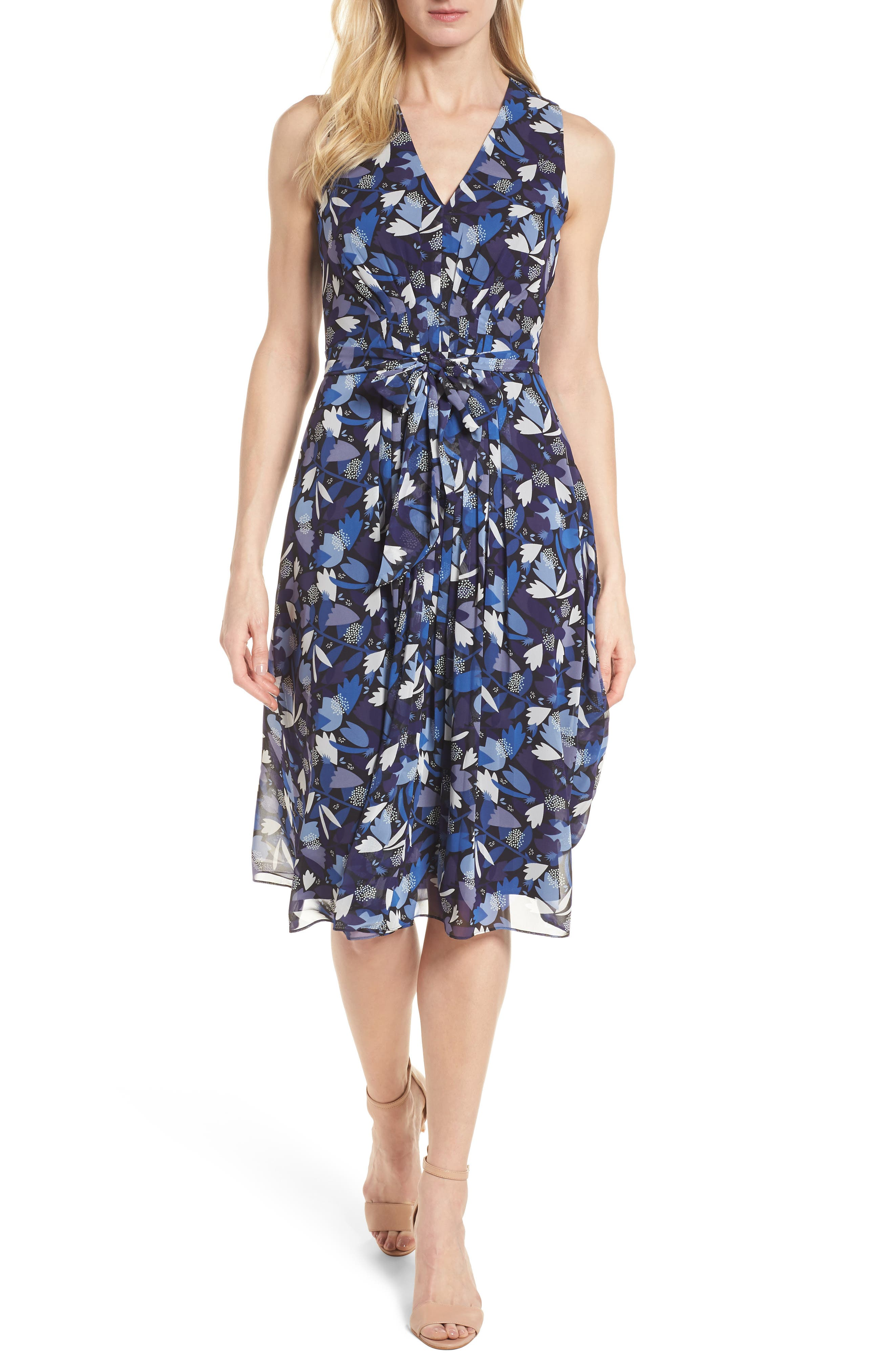 Amalfi Print Chiffon Dress,                             Main thumbnail 1, color,                             410