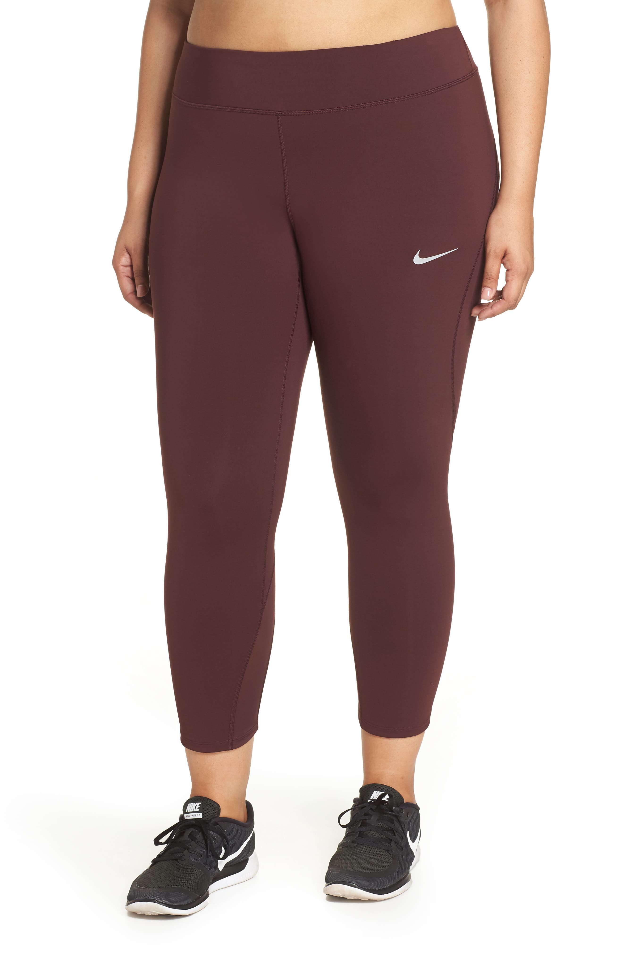Power Epic Lux Crop Running Tights,                         Main,                         color, BURGUNDY CRUSH