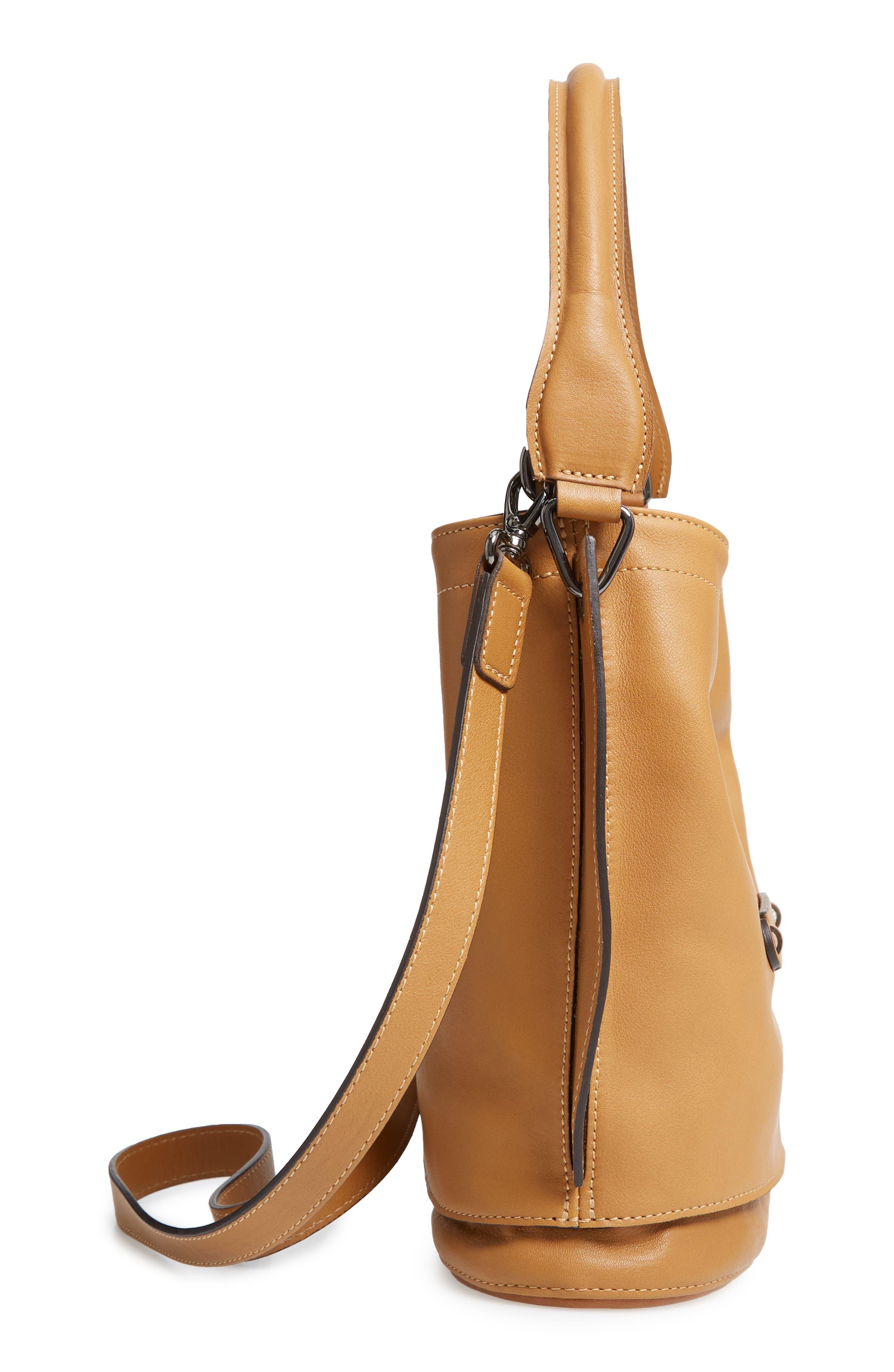 3D Leather Bucket Bag,                             Alternate thumbnail 5, color,                             NATURAL