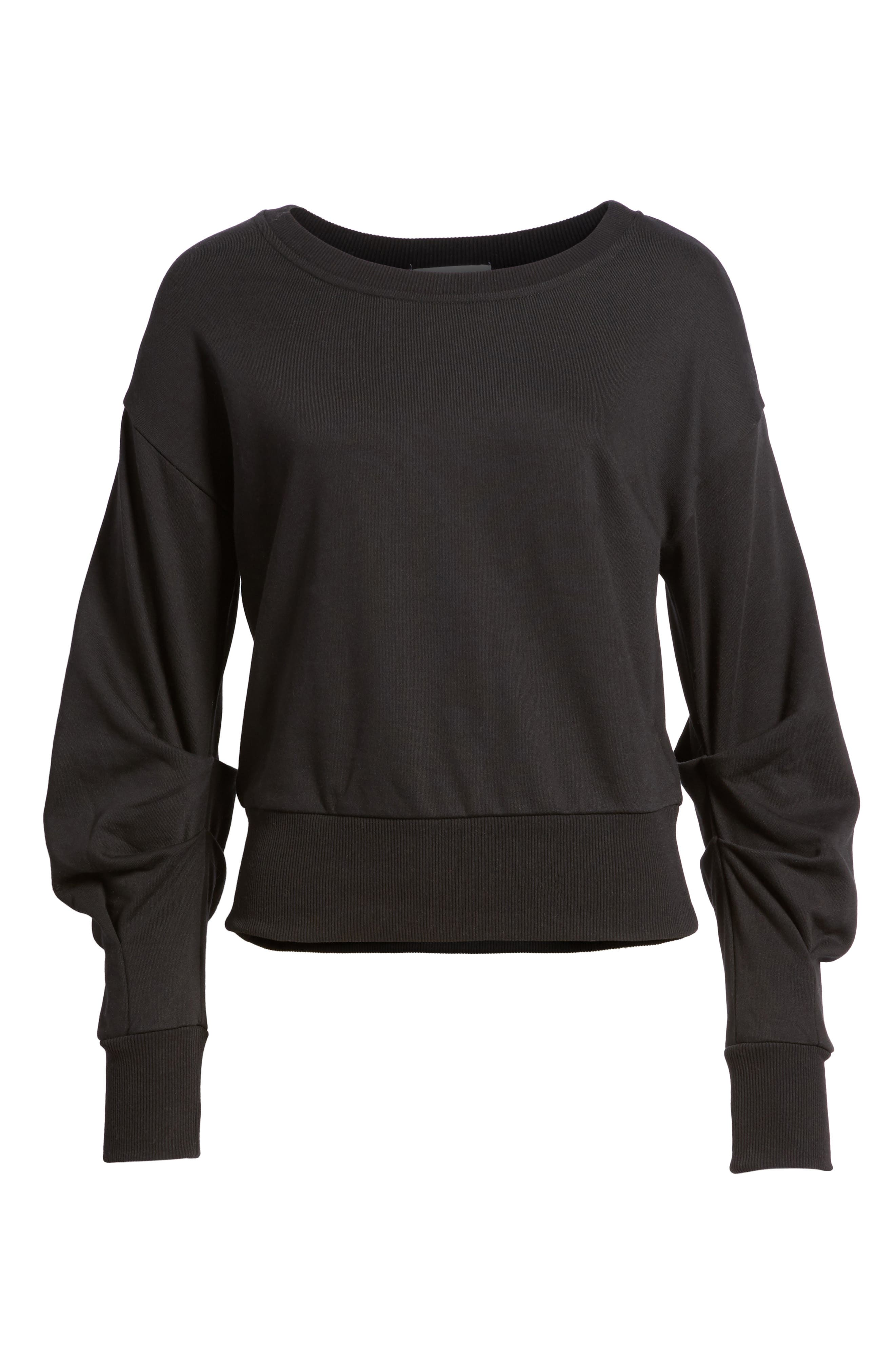 Ruched Sleeve Sweatshirt,                             Alternate thumbnail 6, color,                             001