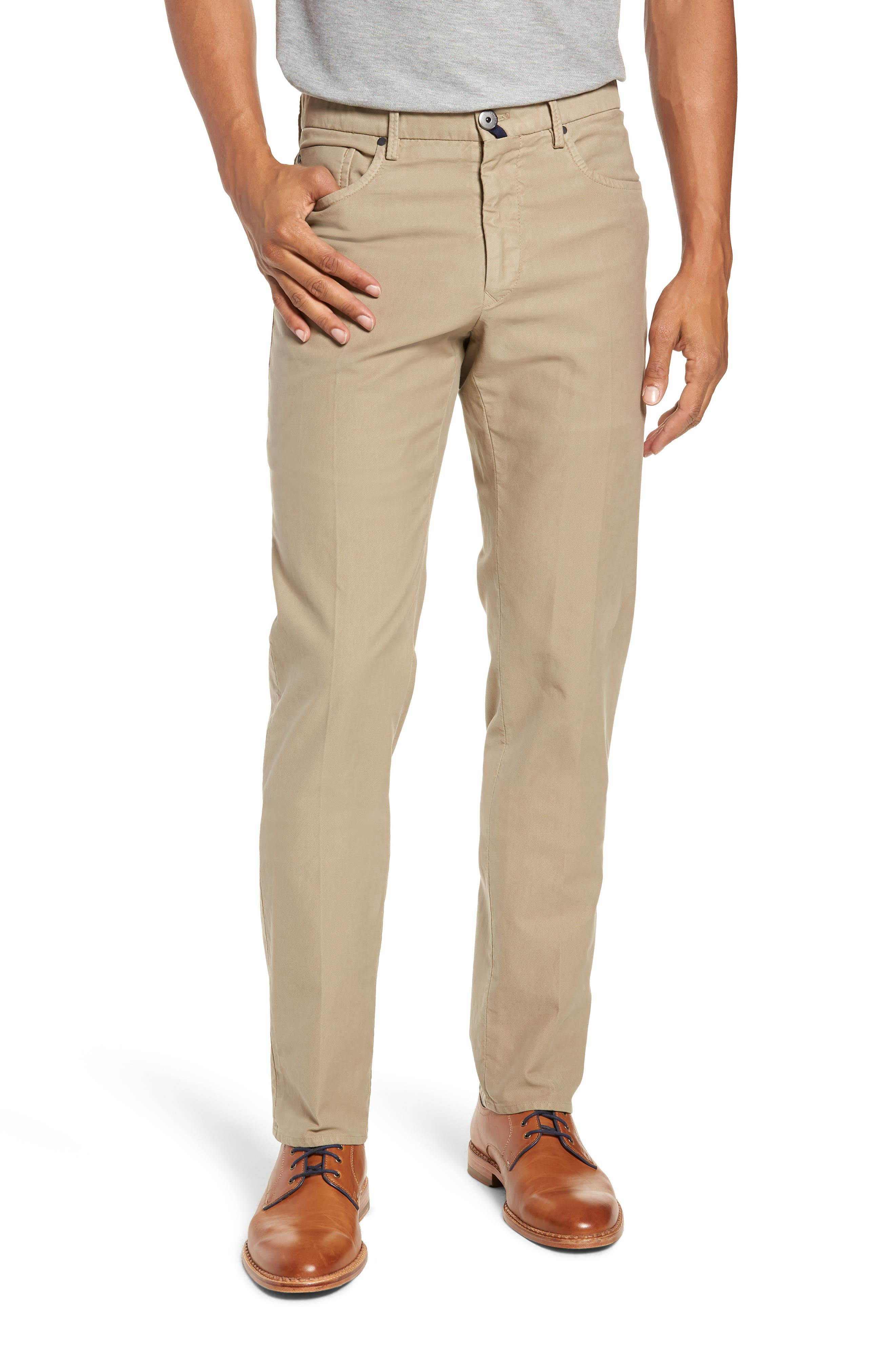 Five-Pocket Solid Stretch Cotton Trousers,                         Main,                         color, STONE