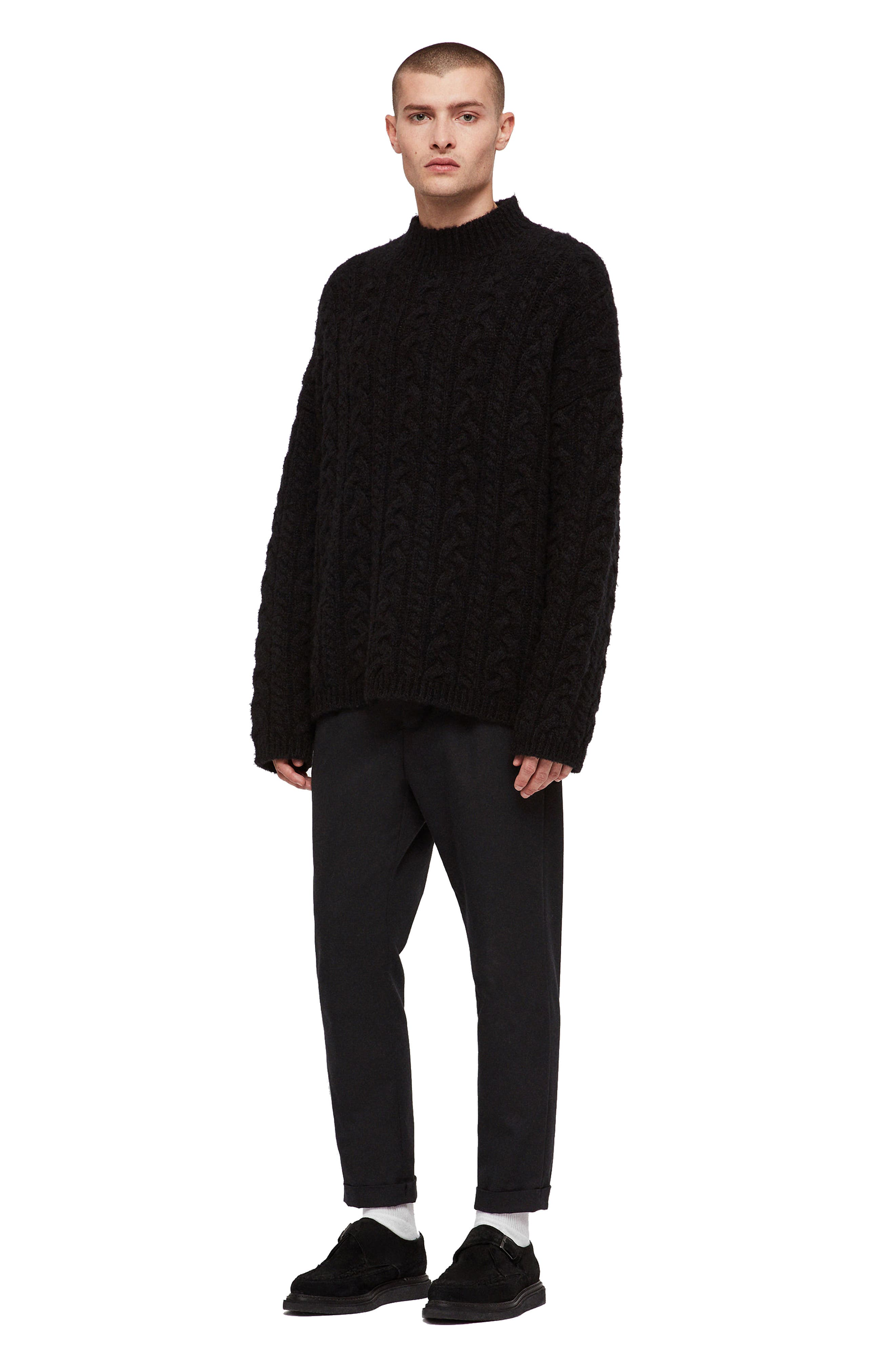 Oversize Cable Wool Blend Funnel Neck Sweater,                             Alternate thumbnail 4, color,                             BLACK