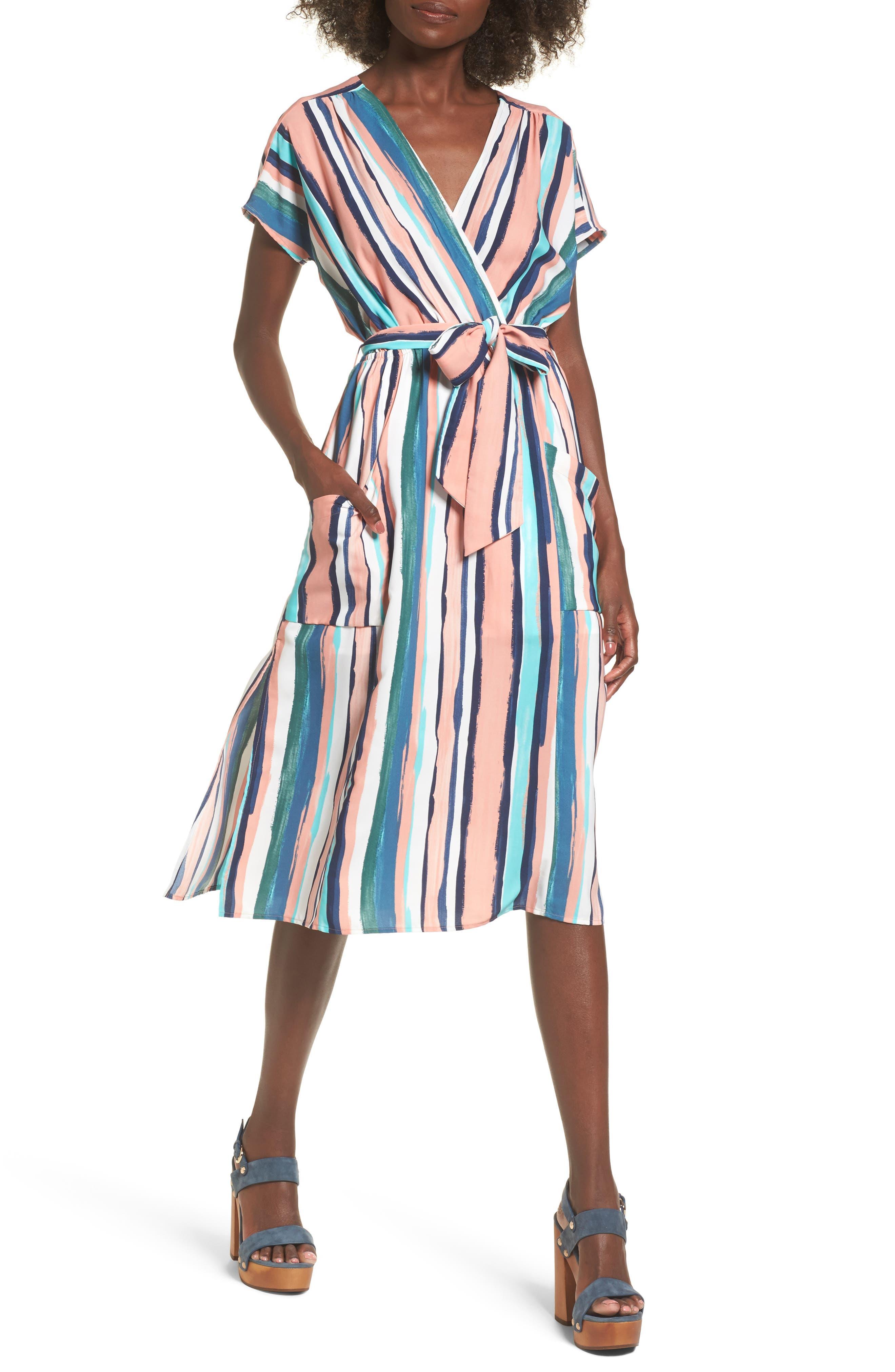Santorini Faux Wrap Dress,                         Main,                         color, MULTI PEACH