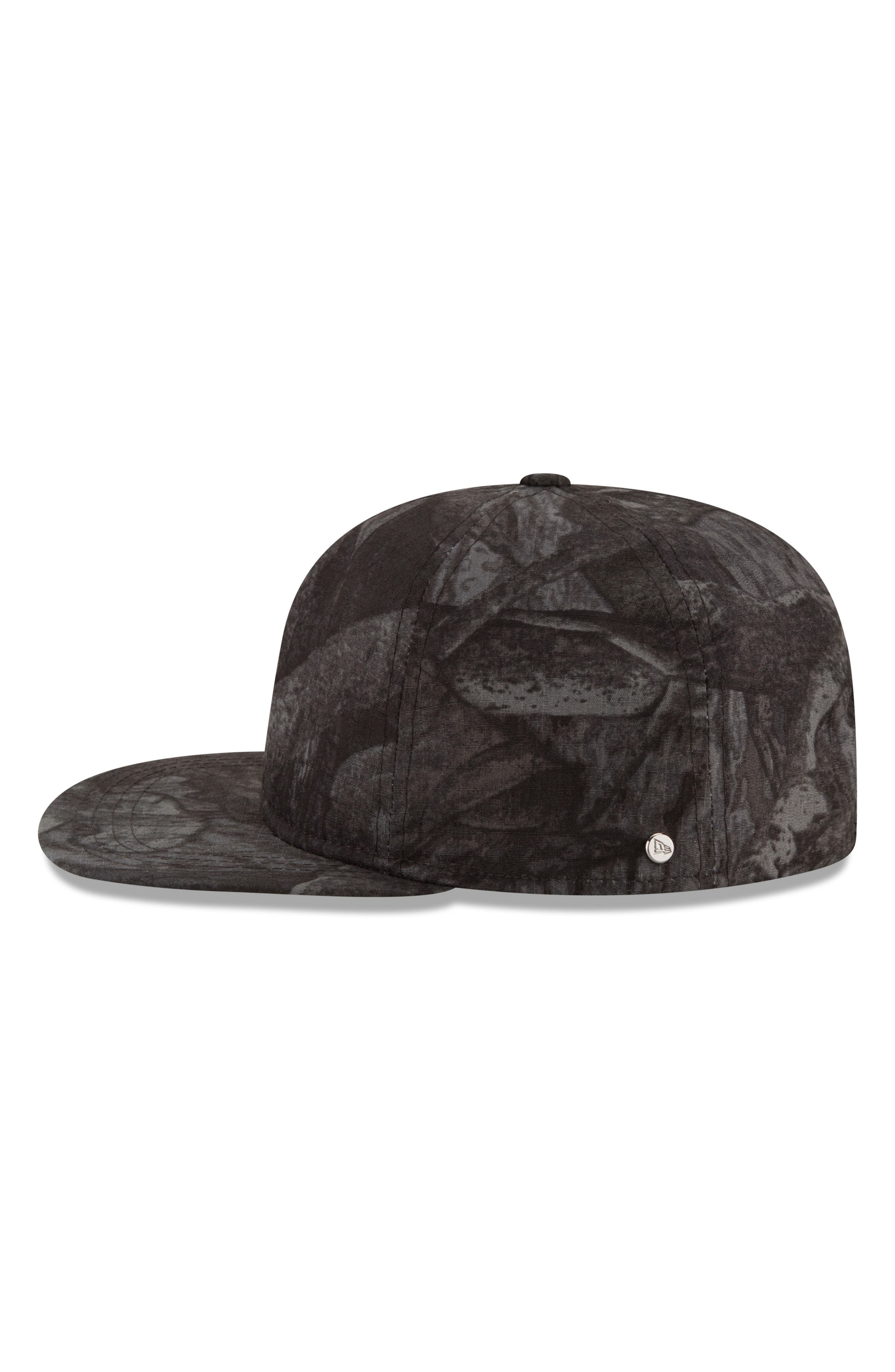 9Twenty Tonal Camo Flat Brim Hat,                             Alternate thumbnail 5, color,                             BLACK