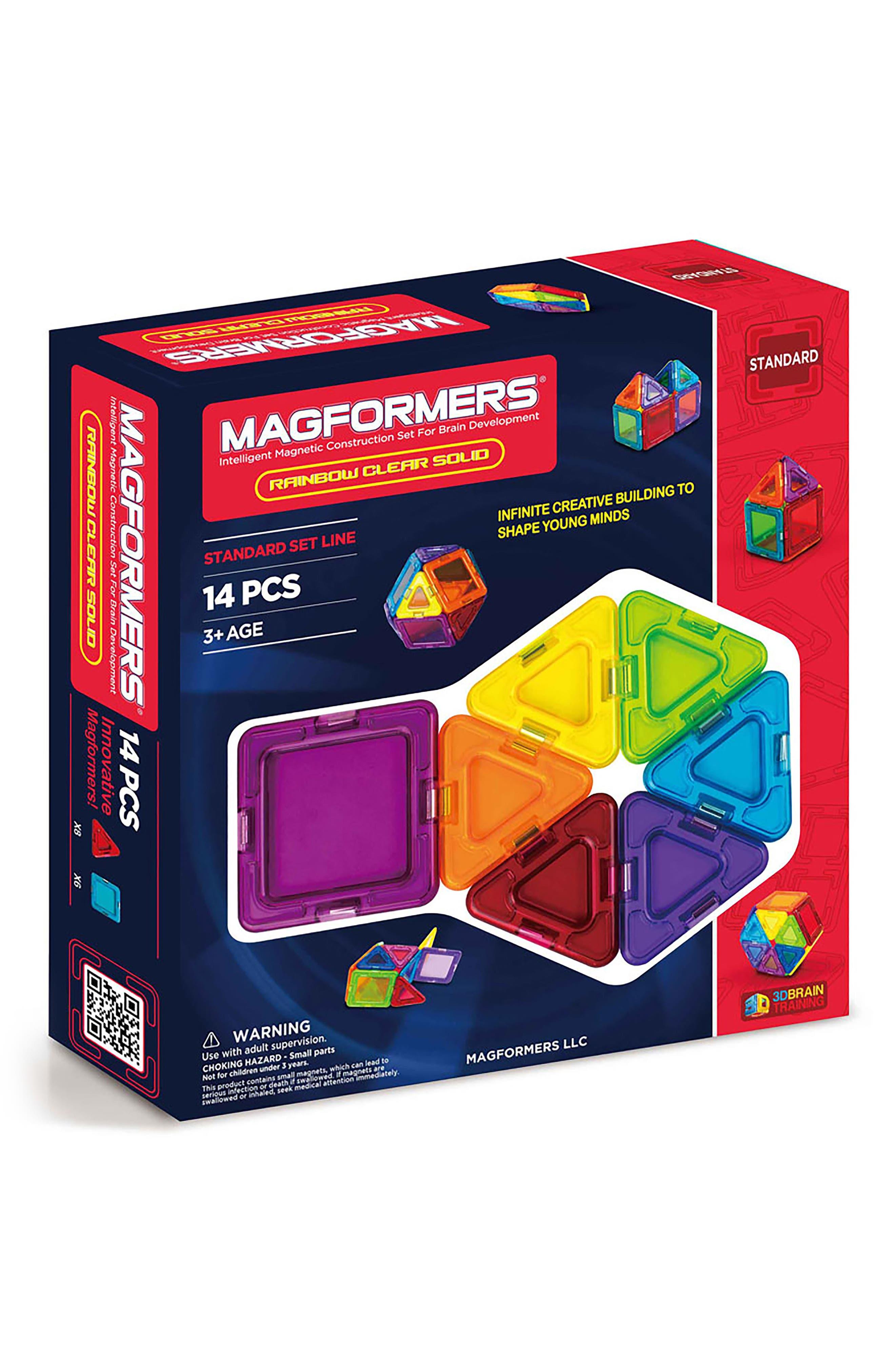 14-Piece Rainbow Clear Solid Magnetic 3D Construction Set,                             Main thumbnail 1, color,                             400