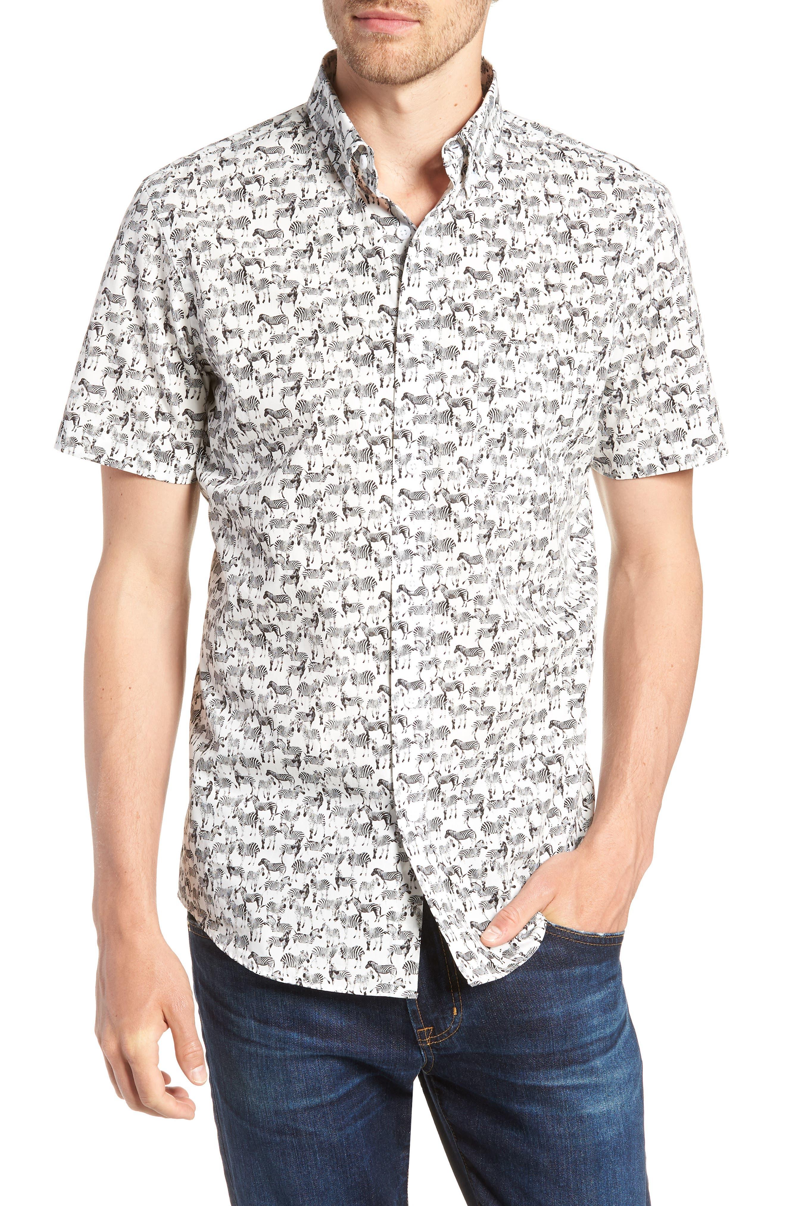 Trim Fit Print Short Sleeve Sport Shirt,                         Main,                         color, BLACK WHITE ZEBRAS