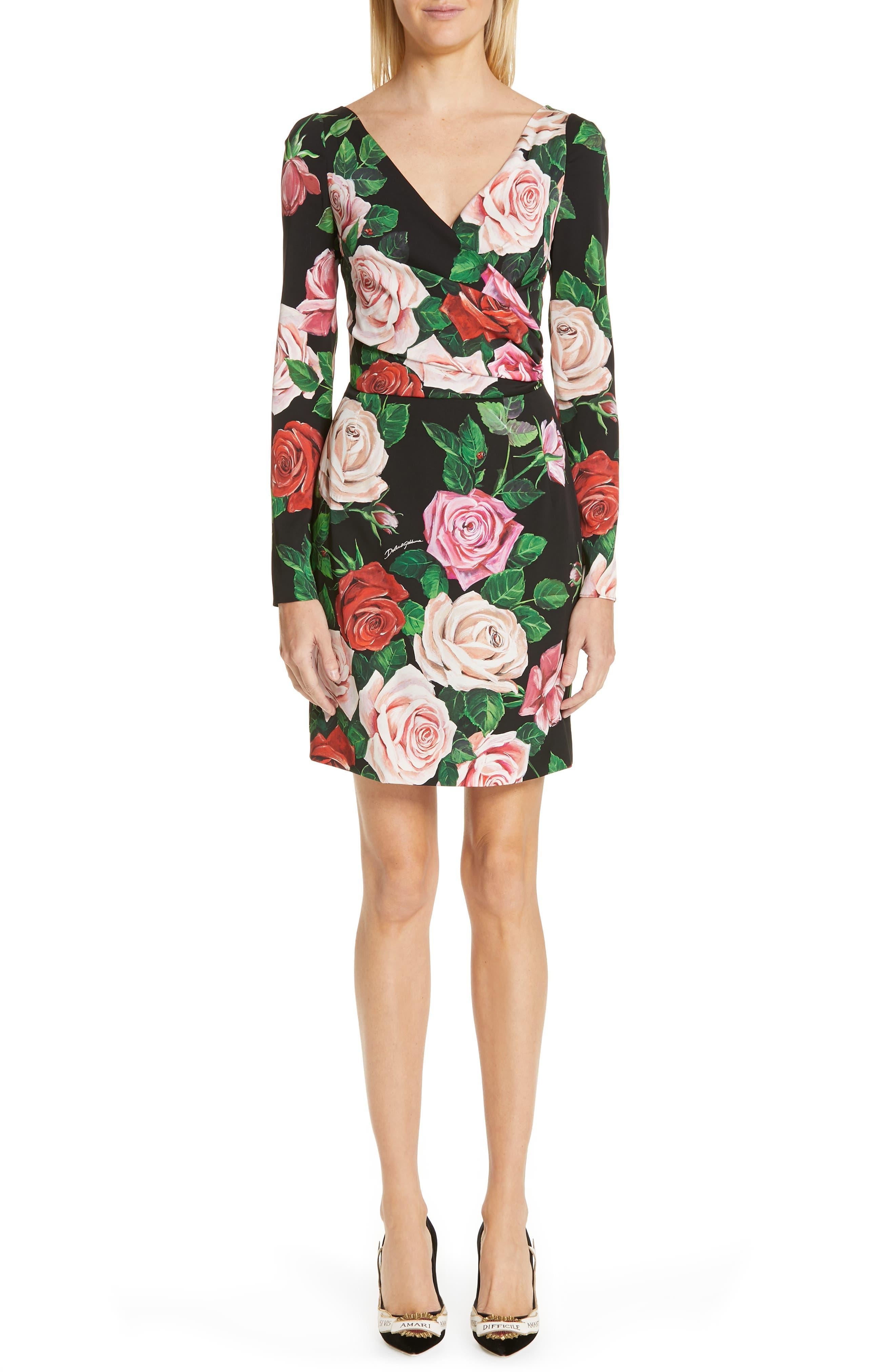 Rose Print Stretch Silk Dress, Main, color, BLACK ROSE