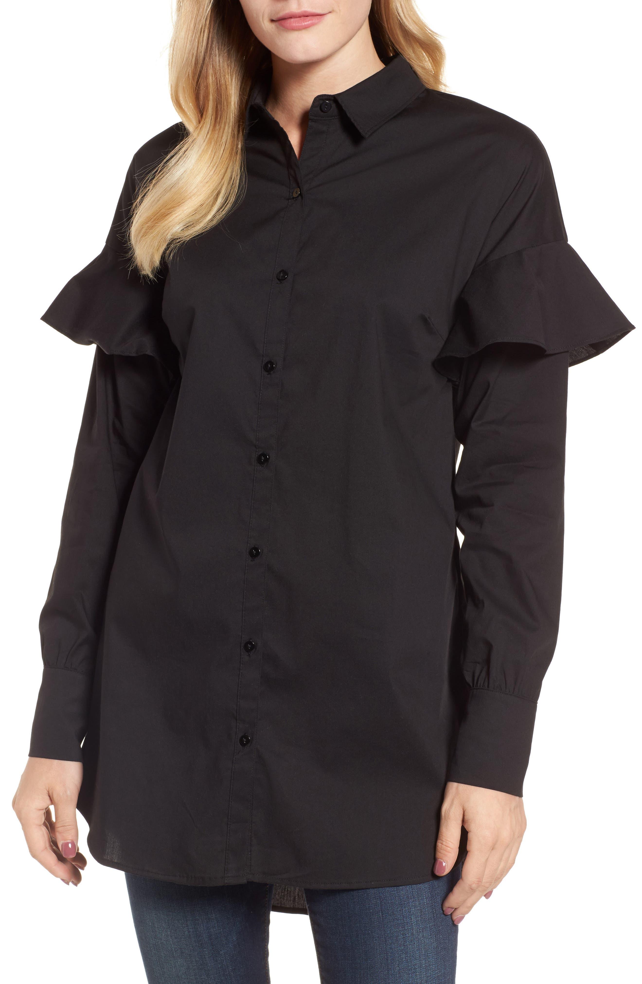 Ruffle Sleeve Tunic,                         Main,                         color, 001