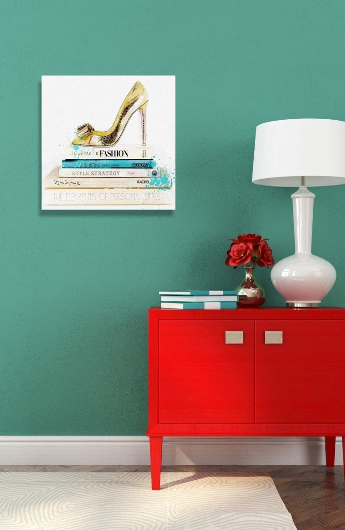 'Gold Shoe & Fashion Books' Canvas Wall Art,                             Alternate thumbnail 2, color,