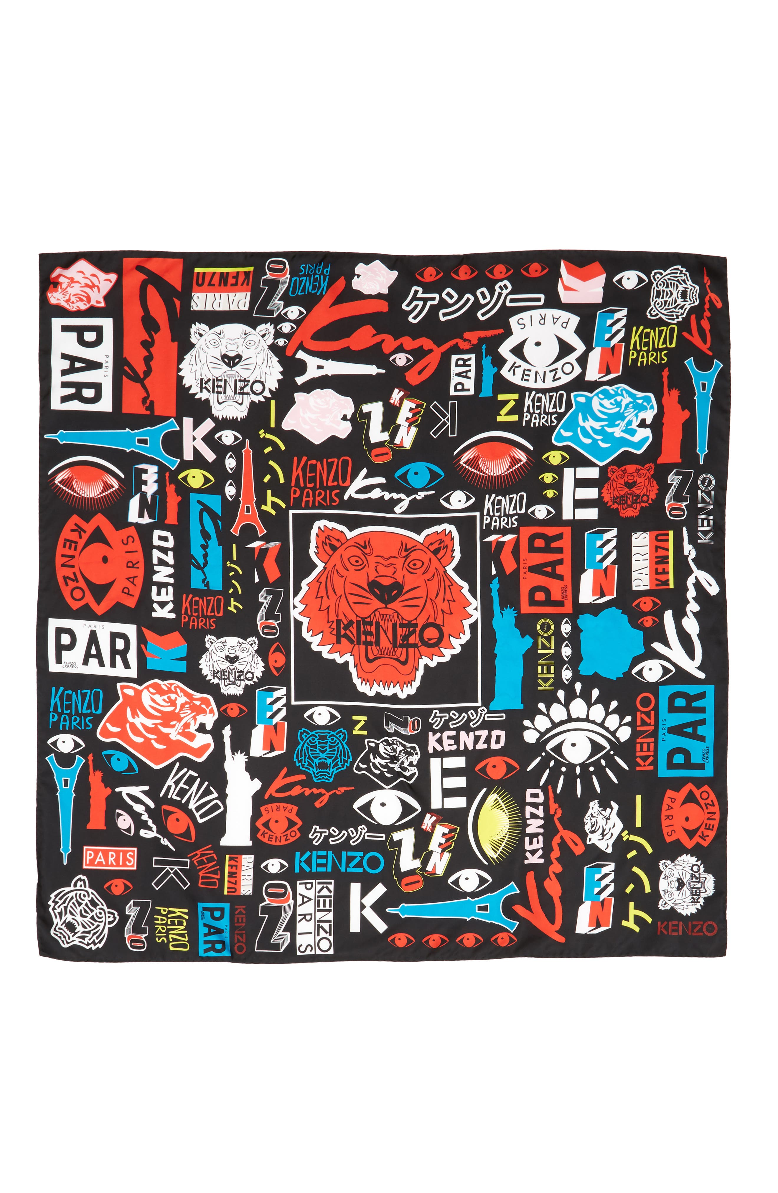 Tiger Poster Silk Square Scarf,                             Main thumbnail 1, color,                             BLACK