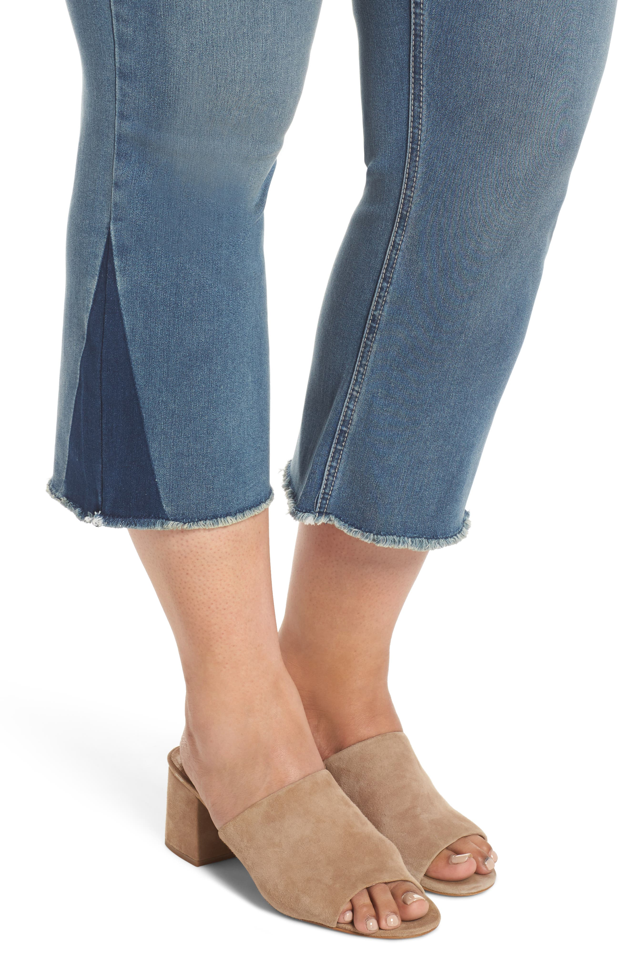 Shadow Godet Ankle Duster Jeans,                             Alternate thumbnail 4, color,                             LEVINE