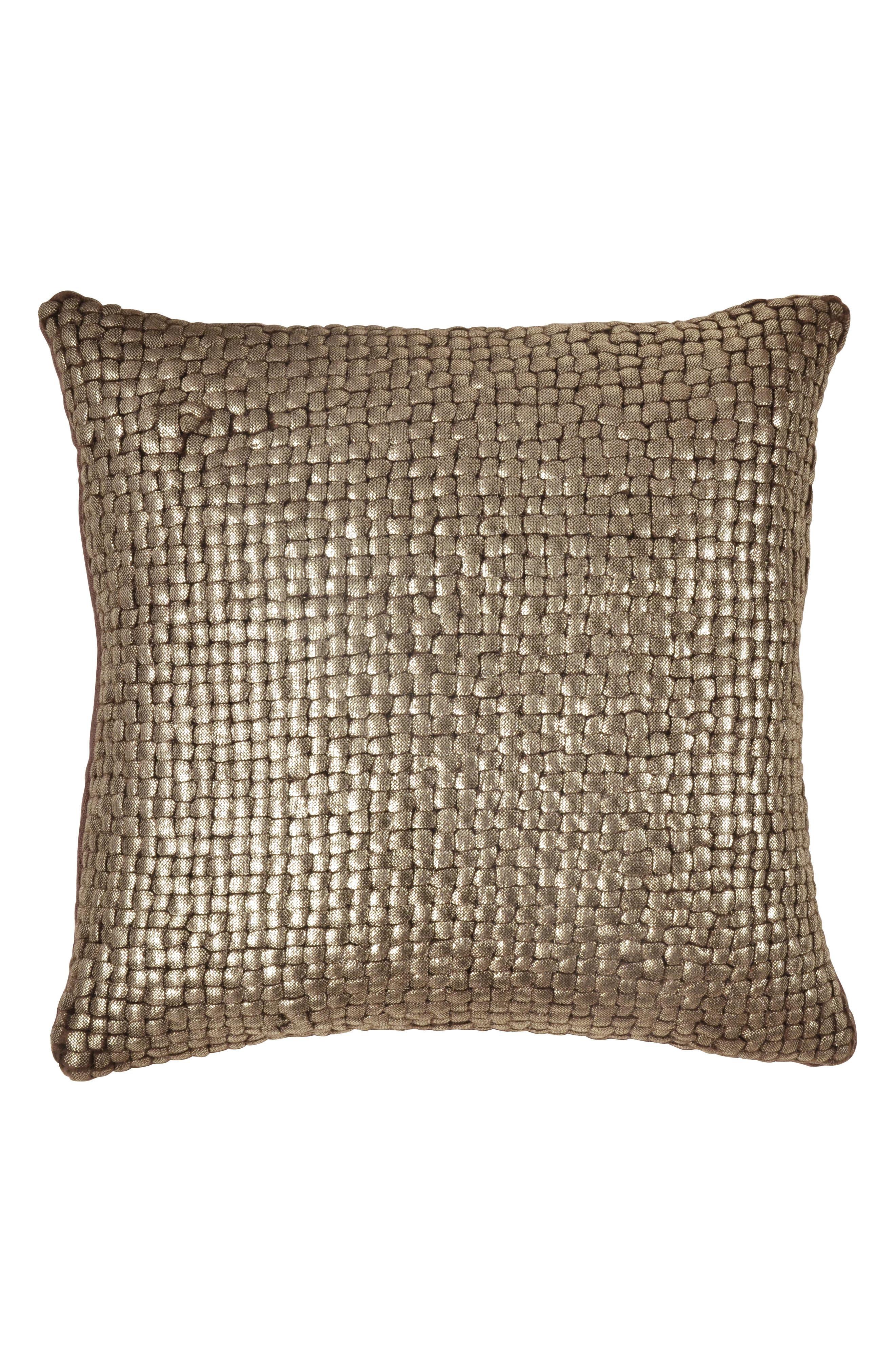 MICHAEL ARAM Metallic Basket Weave Accent Pillow, Main, color, CHOCOLATE