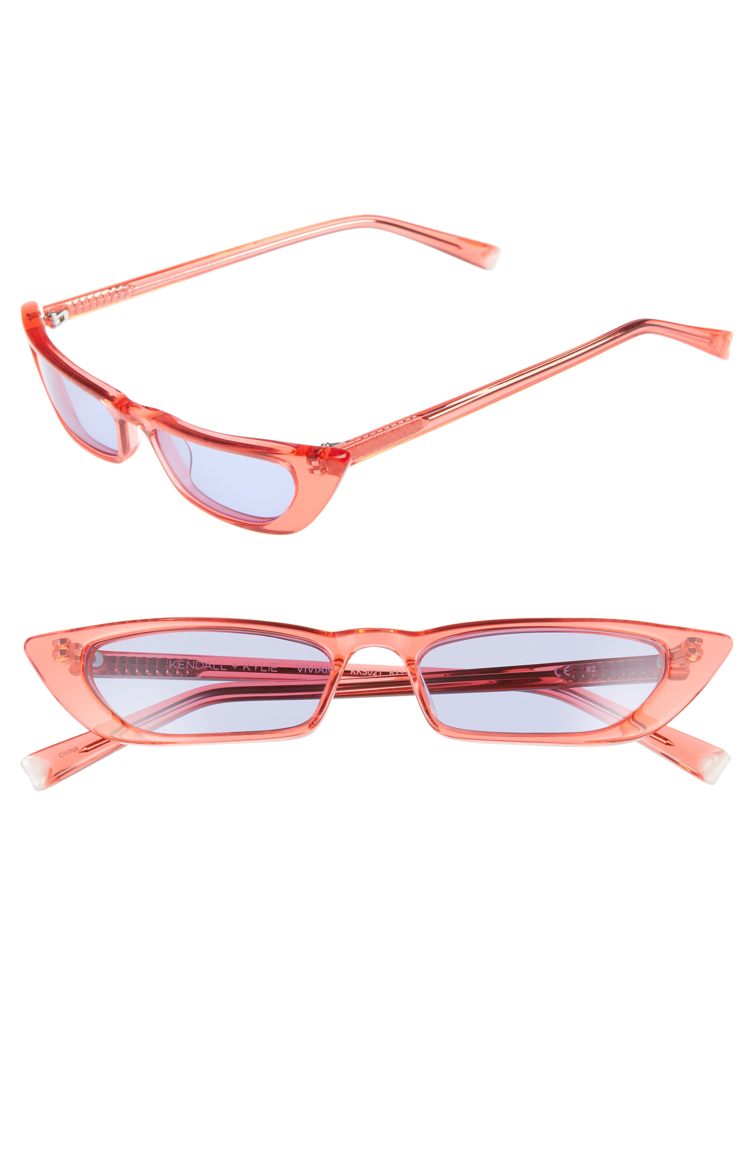 KENDALL AND KYLIE Vivian 51Mm Extreme Cat Eye Sunglasses - Crystal Pink
