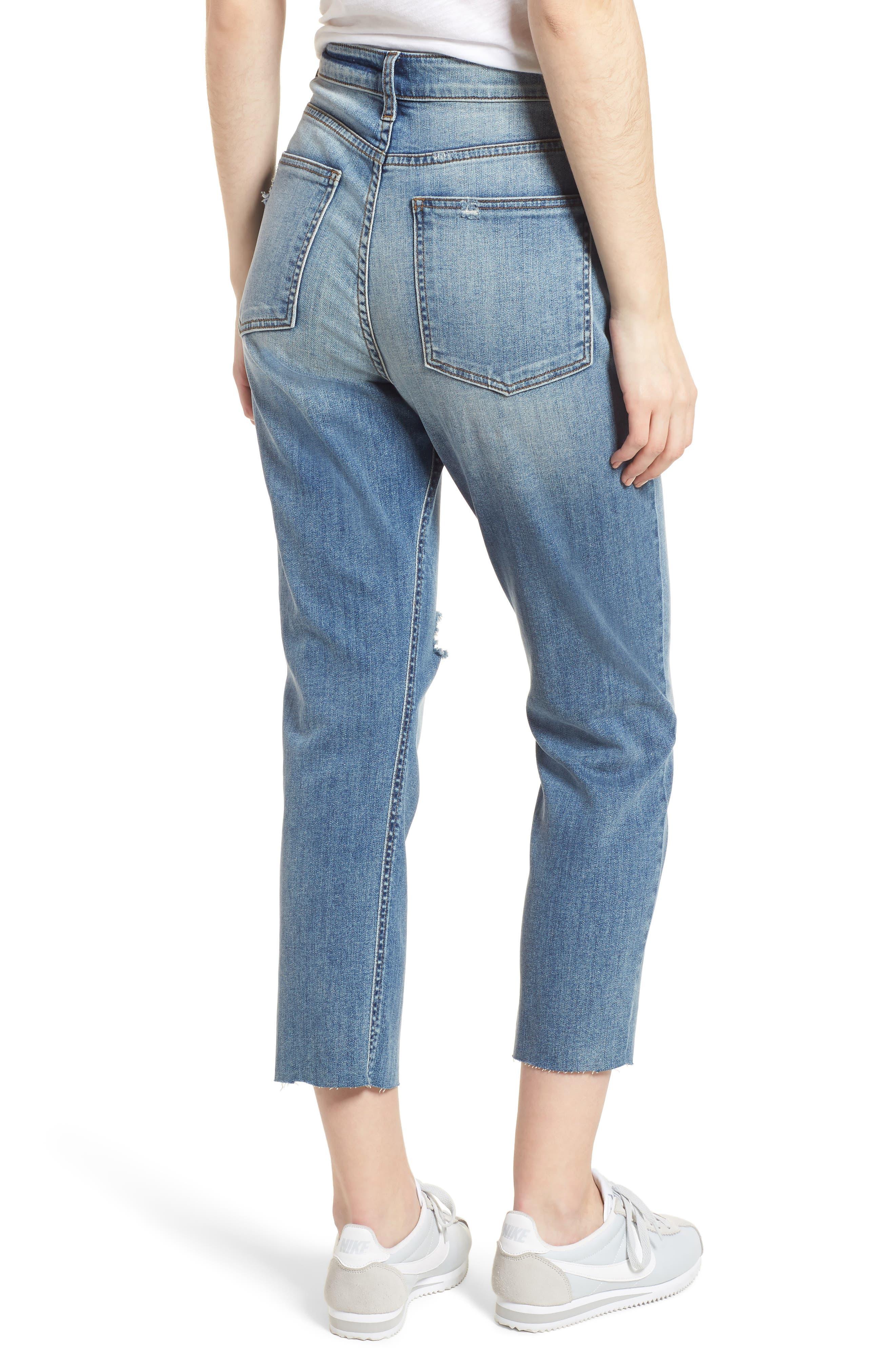 High Waist Crop Jeans,                             Alternate thumbnail 2, color,                             400
