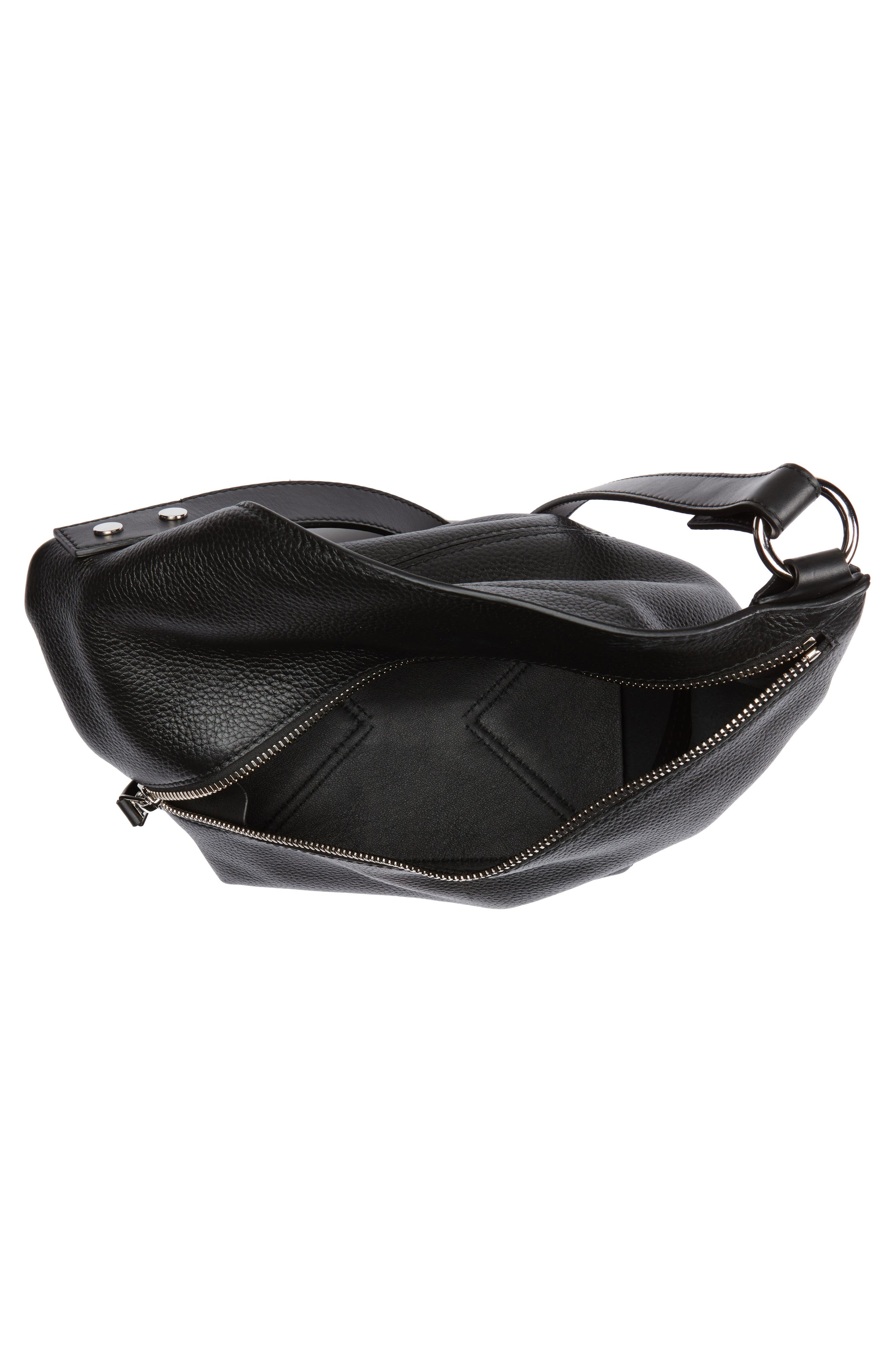Small Leather Hobo Bag,                             Alternate thumbnail 4, color,                             001