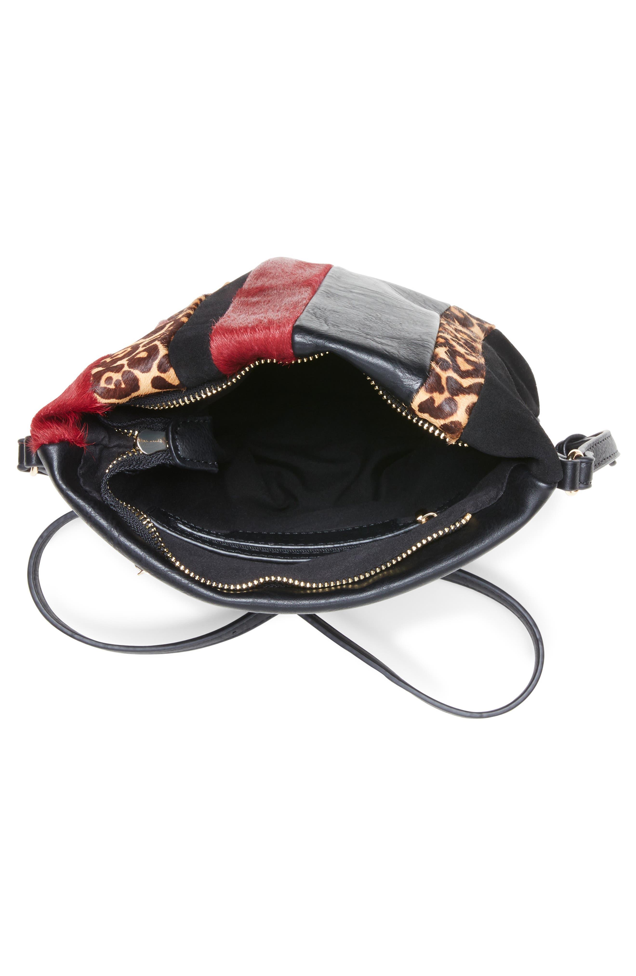 Ragna Genuine Calf Hair Crossbody Bag,                             Alternate thumbnail 3, color,                             OXBLOOD LEOPARD