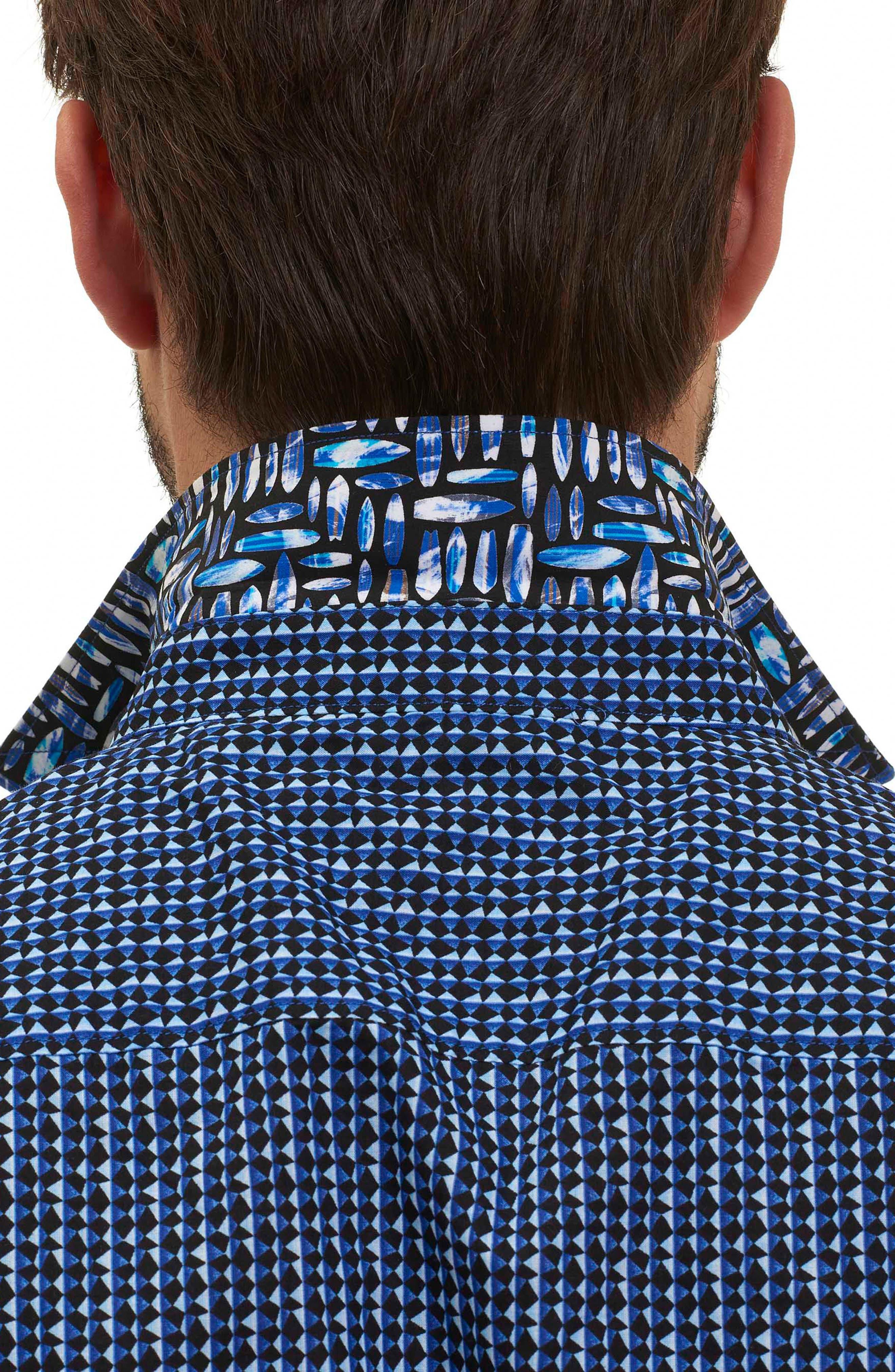 Gardena Classic Fit Geo Print Short Sleeve Sport Shirt,                             Alternate thumbnail 5, color,                             400