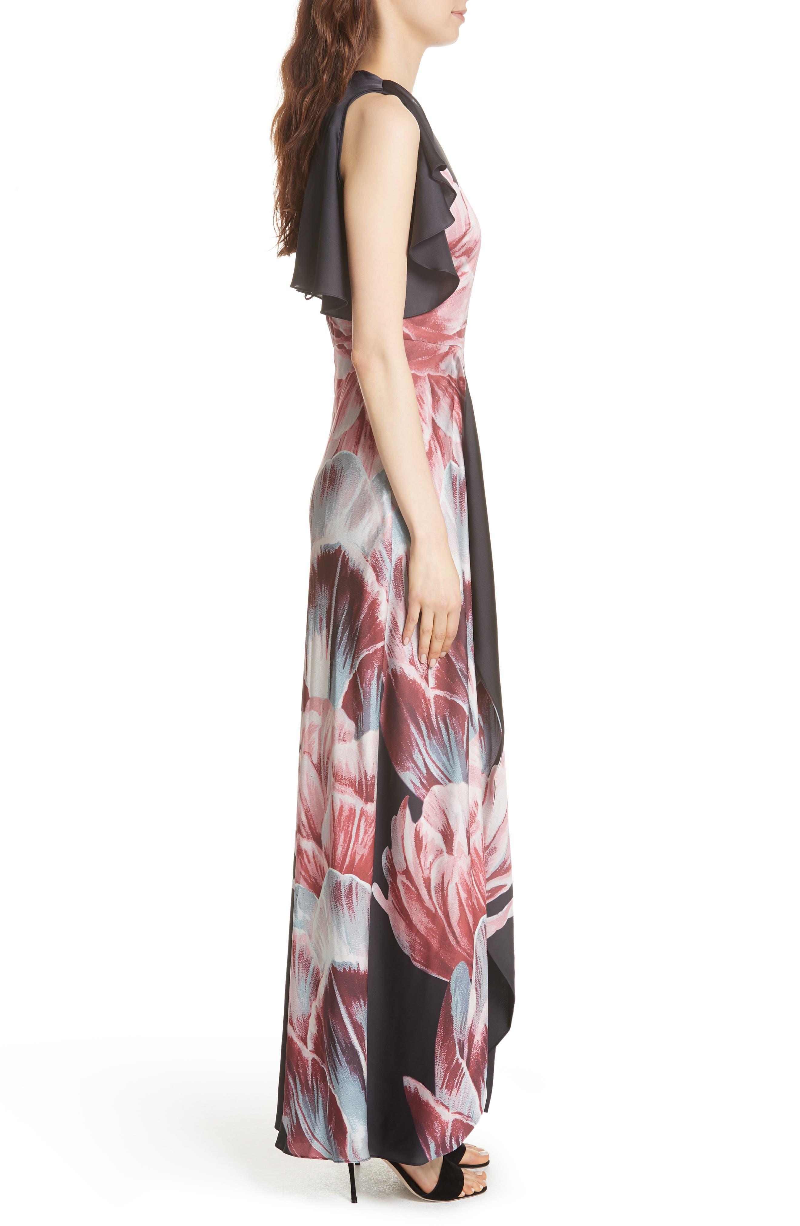 Ulrika Tranquility Ruffle Maxi Dress,                             Alternate thumbnail 3, color,                             BLACK