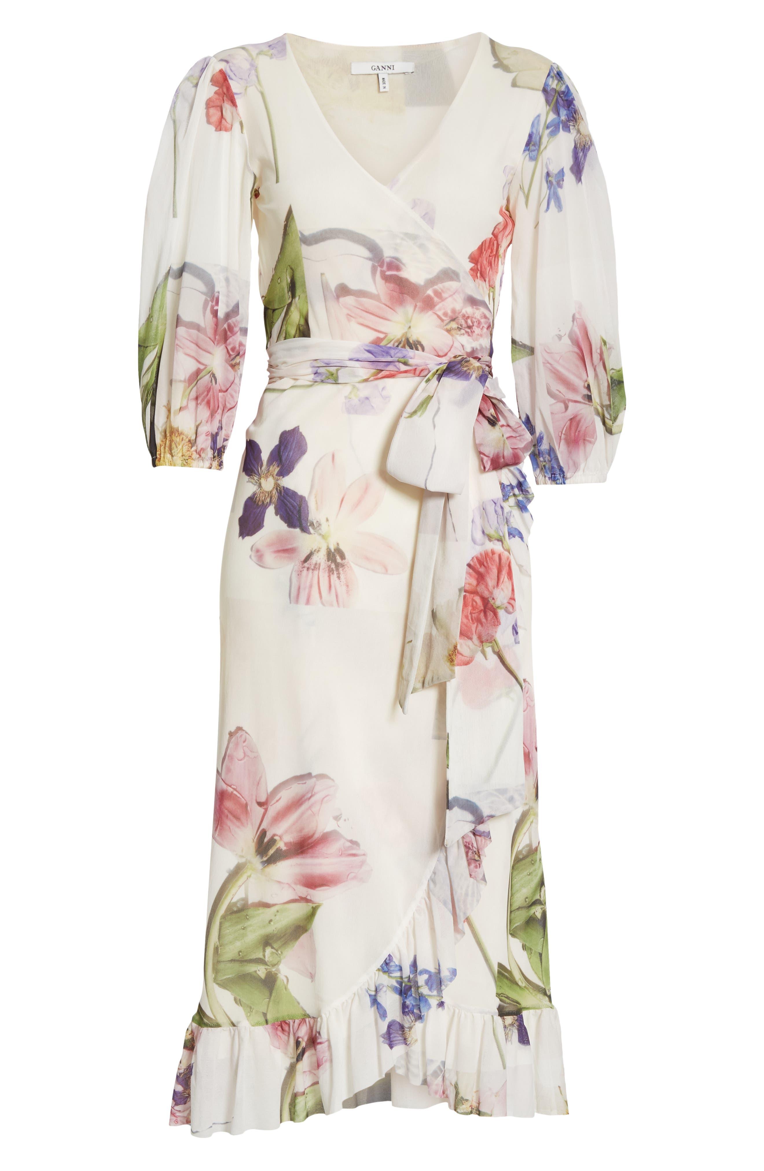 GANNI,                             Floral Print Mesh Dress,                             Alternate thumbnail 7, color,                             BRIGHT WHITE