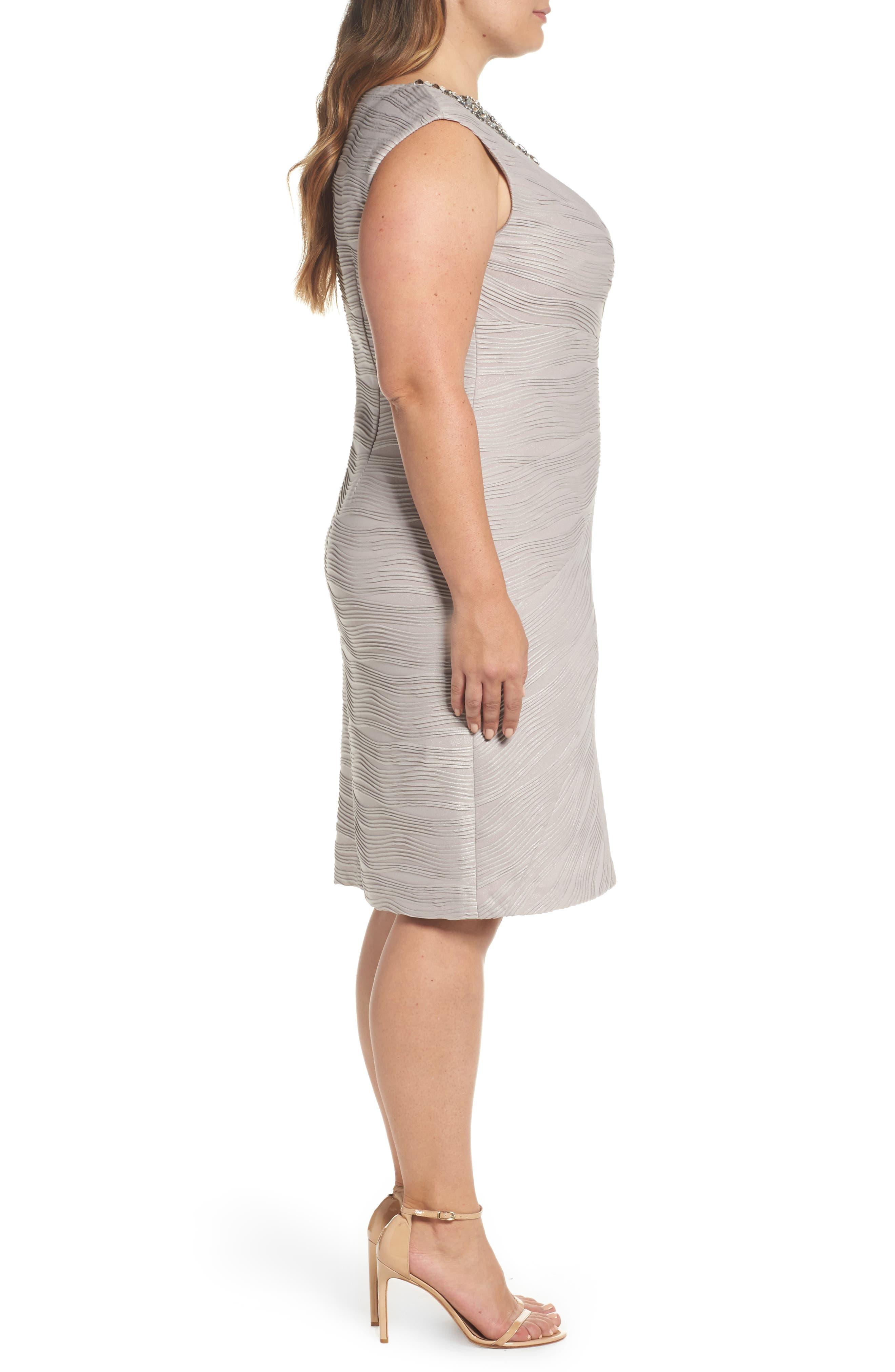 Embellished Neckline Sheath Dress,                             Alternate thumbnail 3, color,                             256