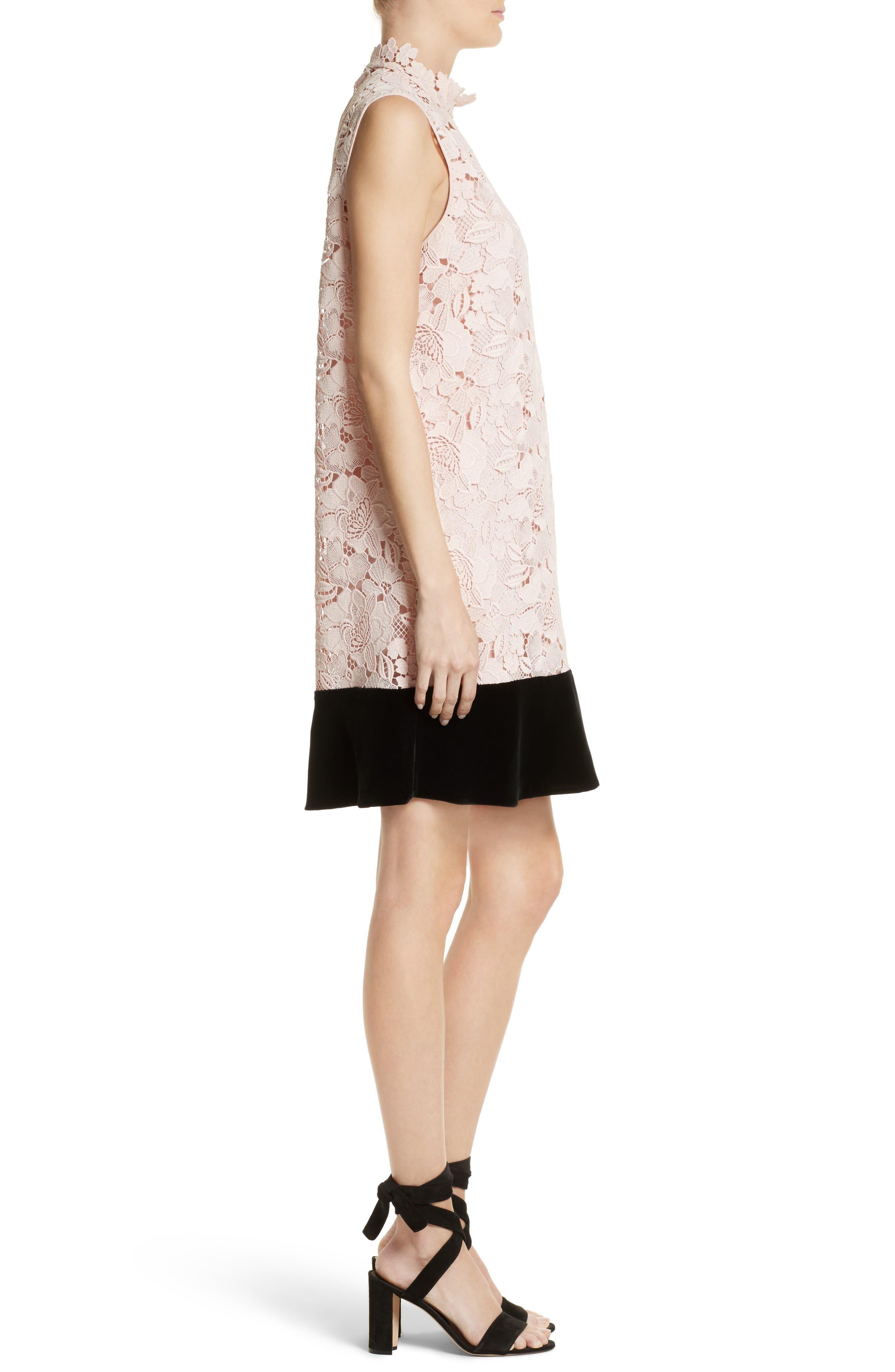 Lace & Velvet Shift Dress,                             Alternate thumbnail 3, color,                             100